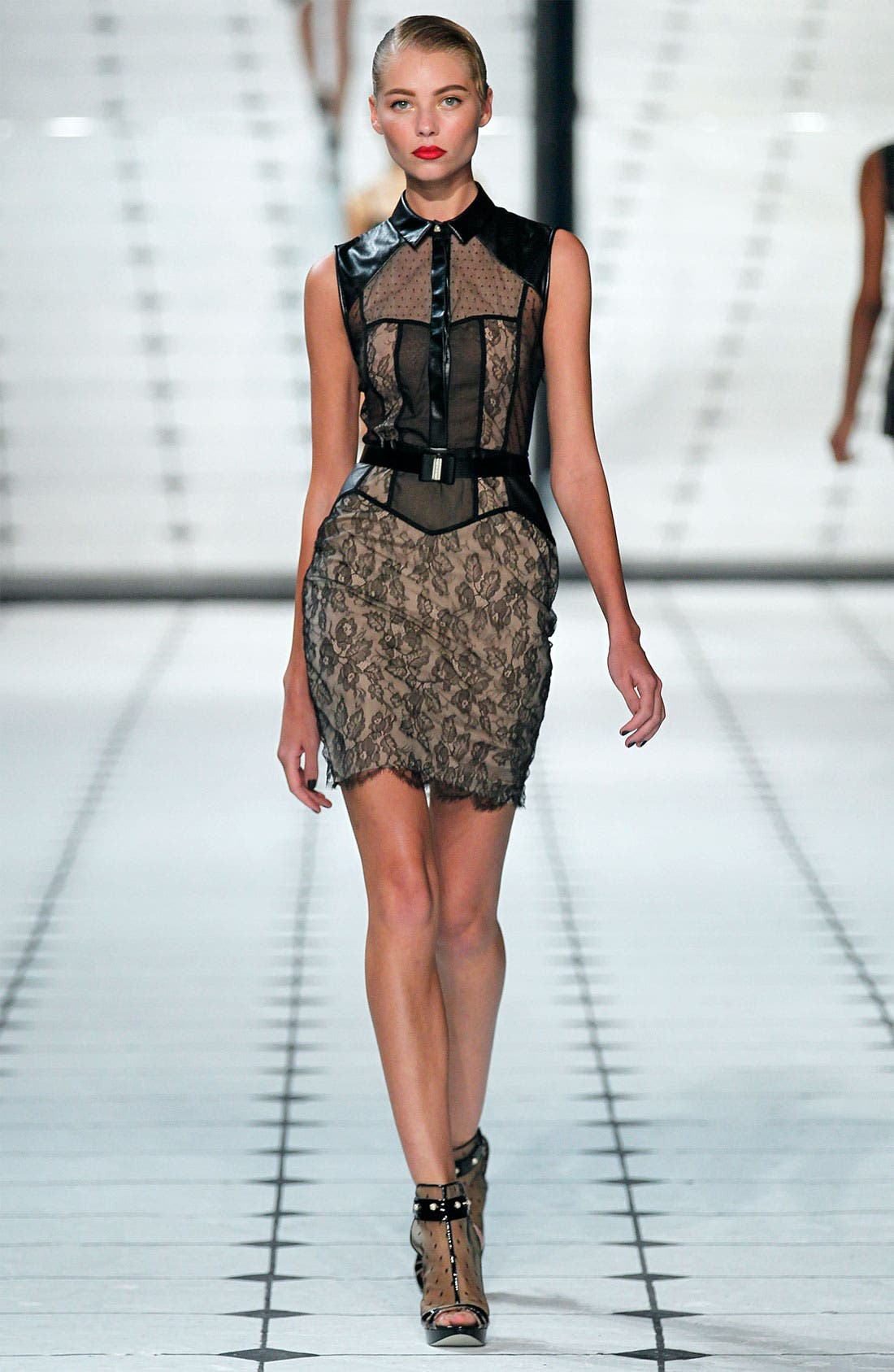 Alternate Image 4  - Jason Wu Belted Leather & Multi Lace Dress