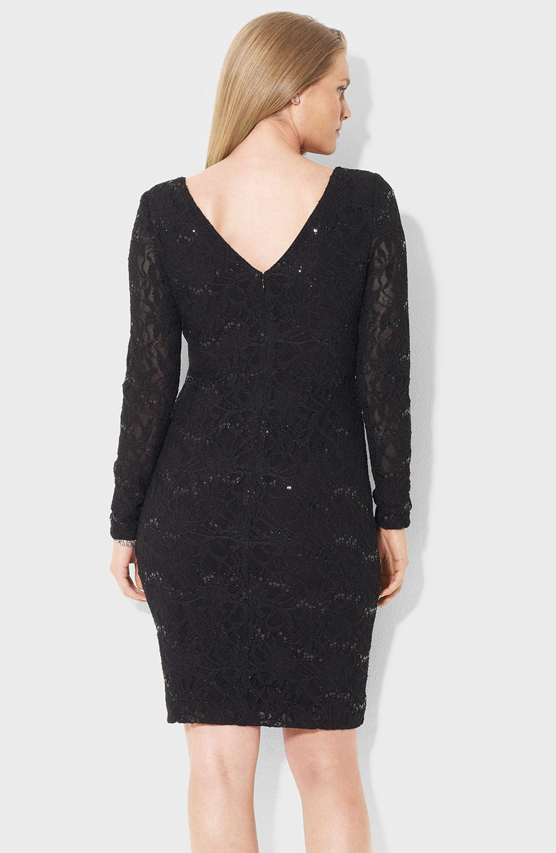 Alternate Image 2  - Lauren Ralph Lauren Sequin & Lace Sheath Dress (Plus)