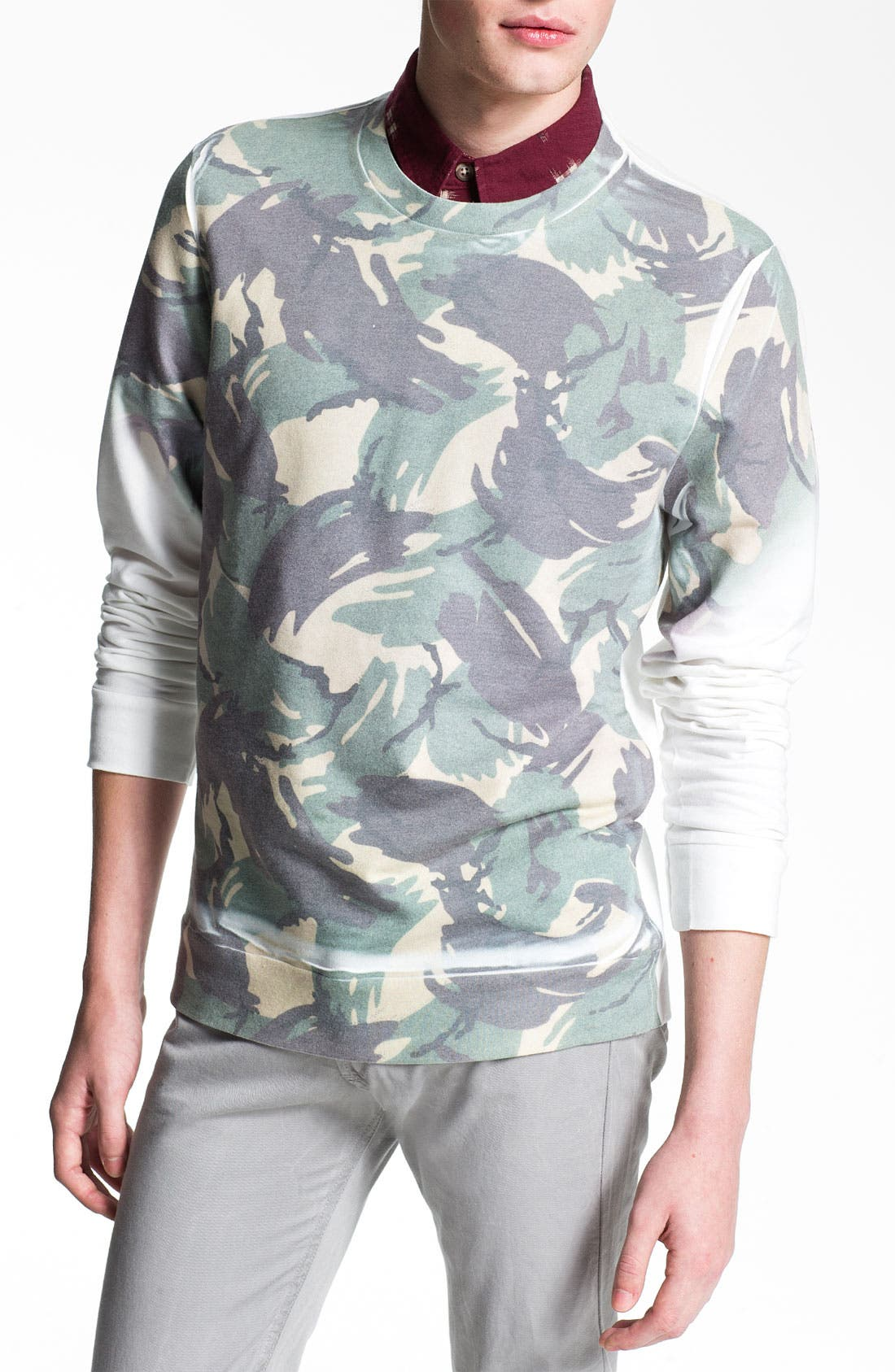 Alternate Image 1 Selected - Topman Camo Sweatshirt