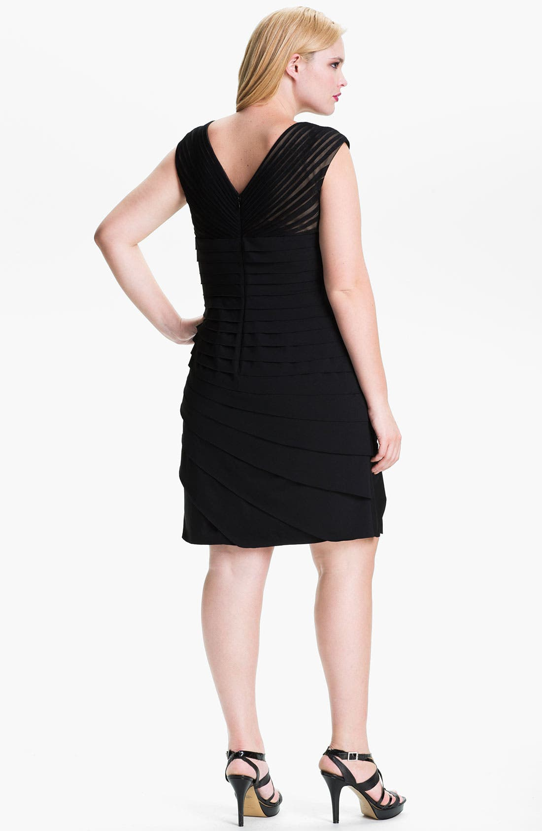 Alternate Image 2  - Adrianna Papell Pleated Cap Sleeve Sheath Dress (Plus)