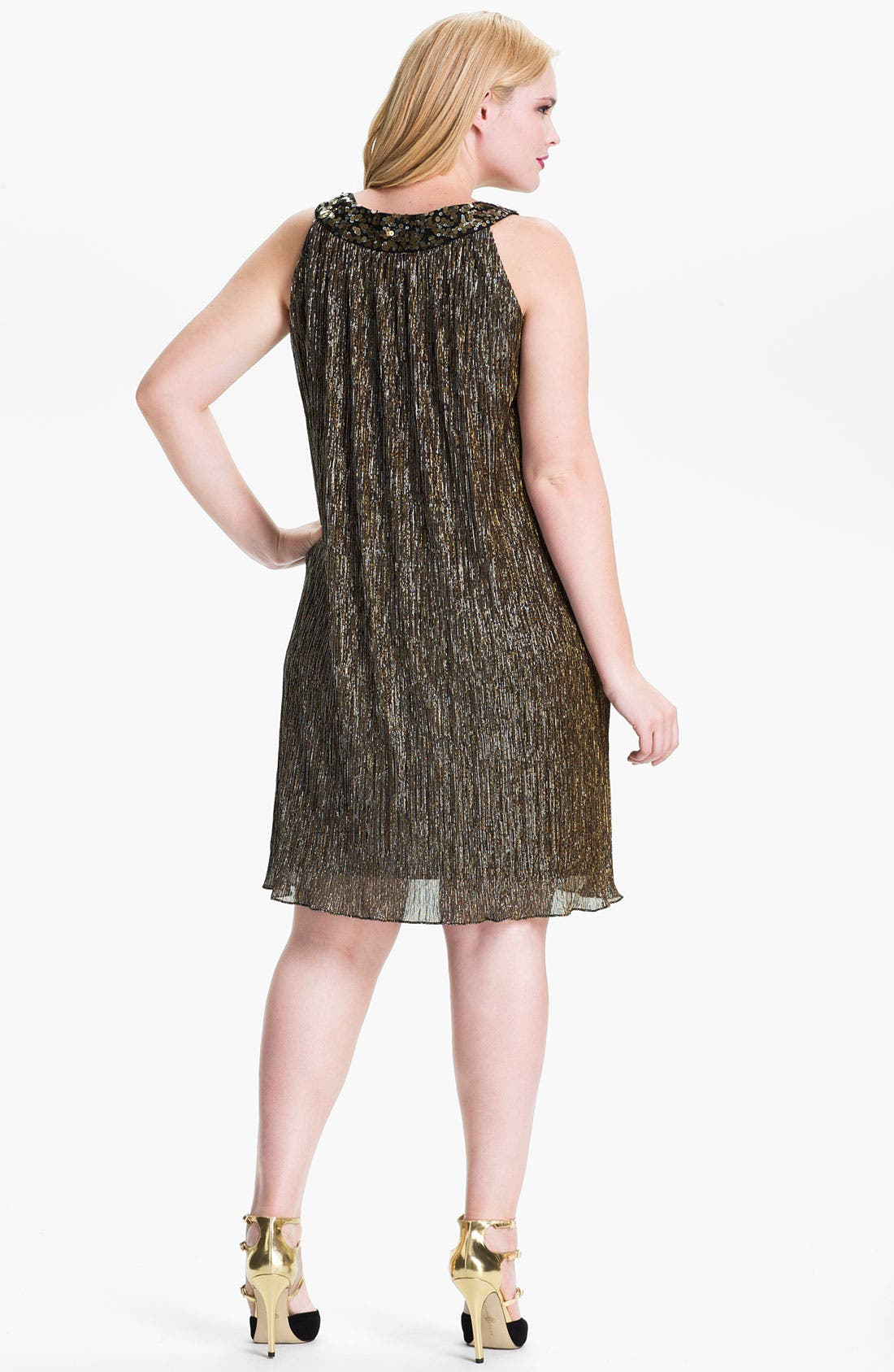 Alternate Image 2  - Donna Ricco Sequin Metallic Trapeze Dress (Plus Size)