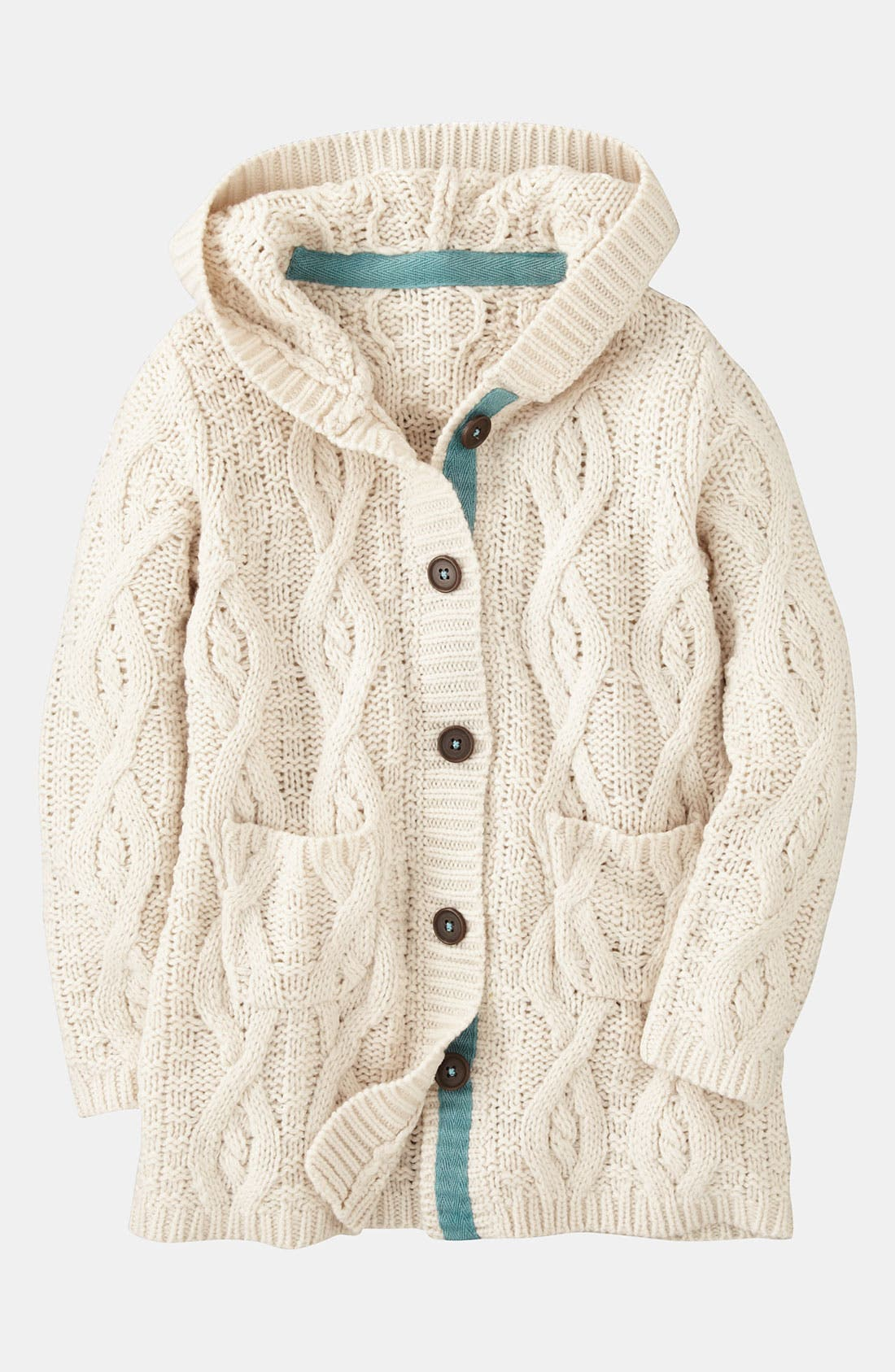 Main Image - Mini Boden Chunky Cable Knit Cardigan (Little Girls & Big Girls)