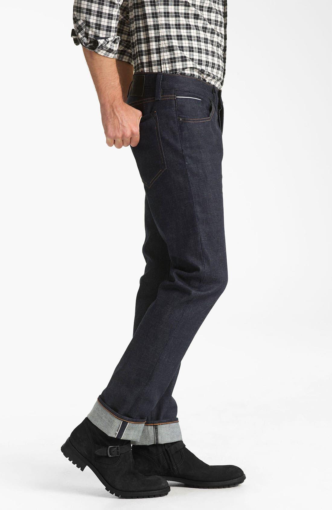Alternate Image 3  - Rogan 'Puck' Slim Straight Leg Selvedge Denim Jeans (Indigo)