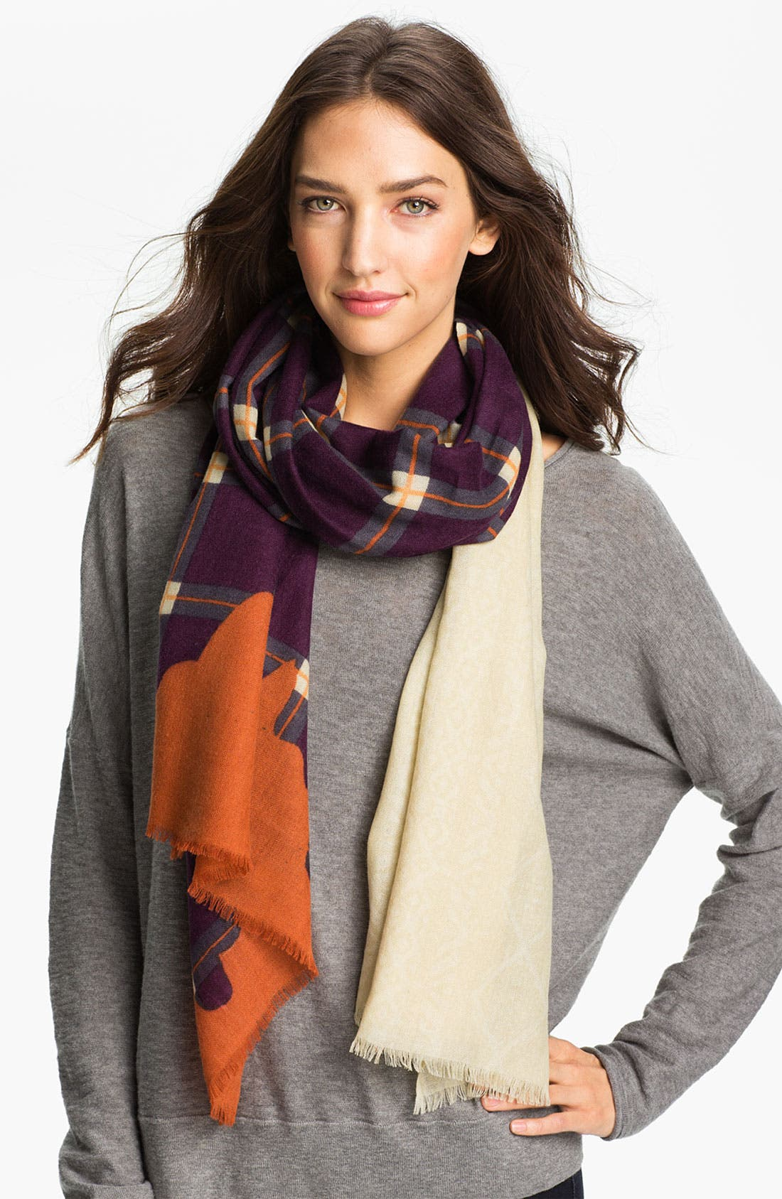 Main Image - Yarnz Plaid Cashmere & Wool Scarf