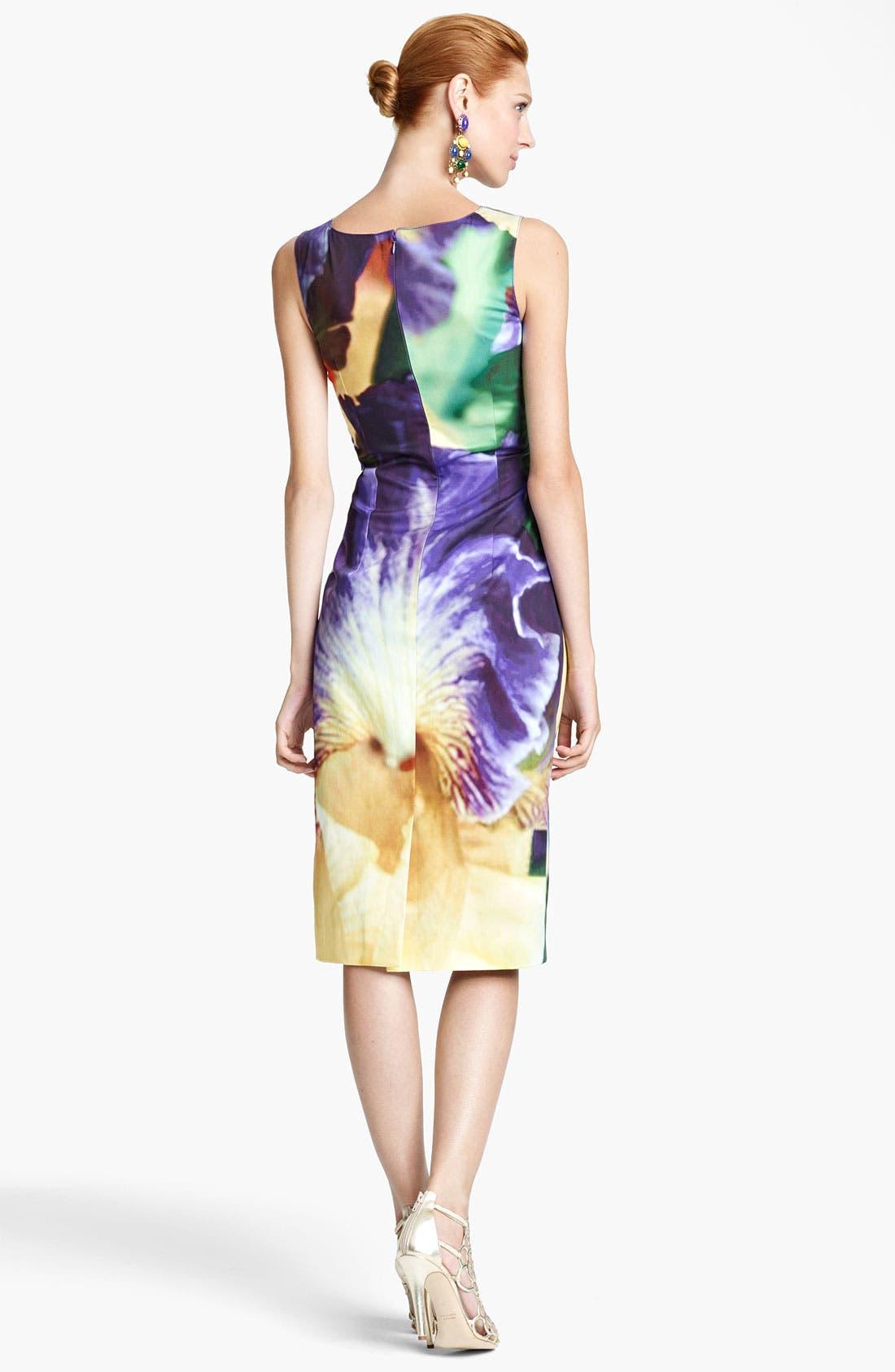 Alternate Image 2  - Oscar de la Renta Iris Print Sheath Dress