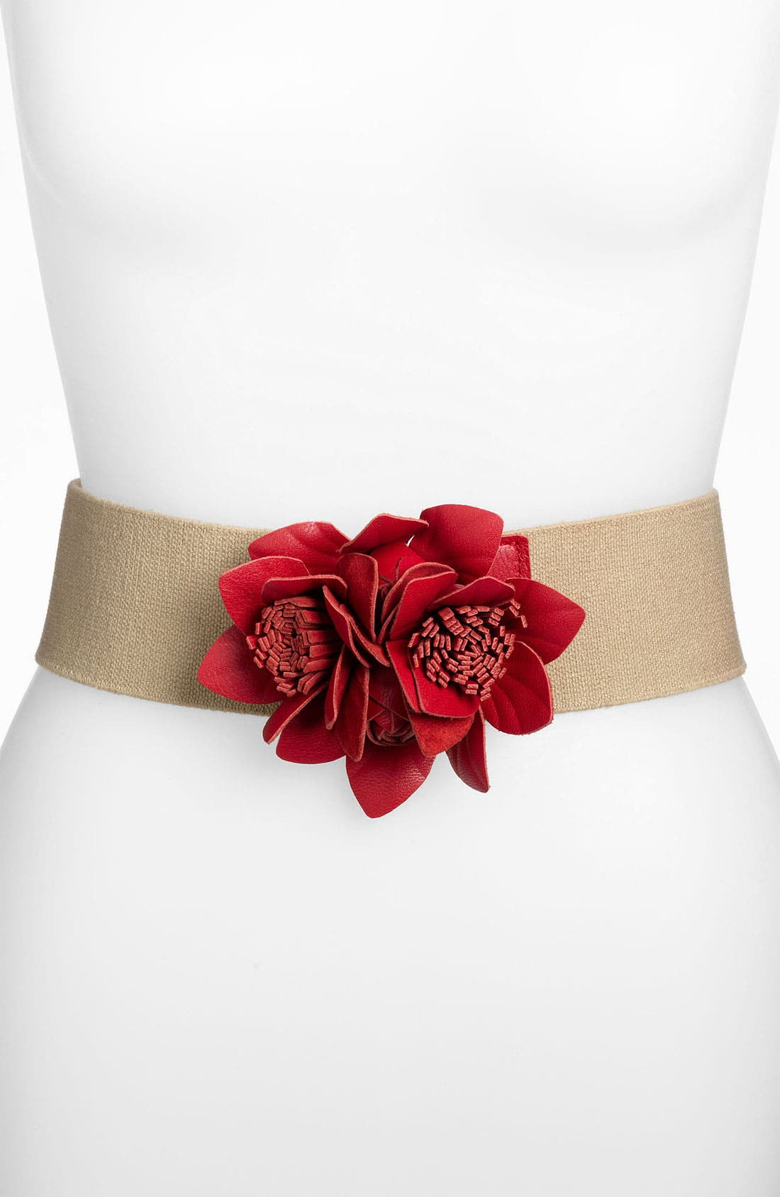 Alternate Image 1 Selected - Tarnish Floral Stretch Belt