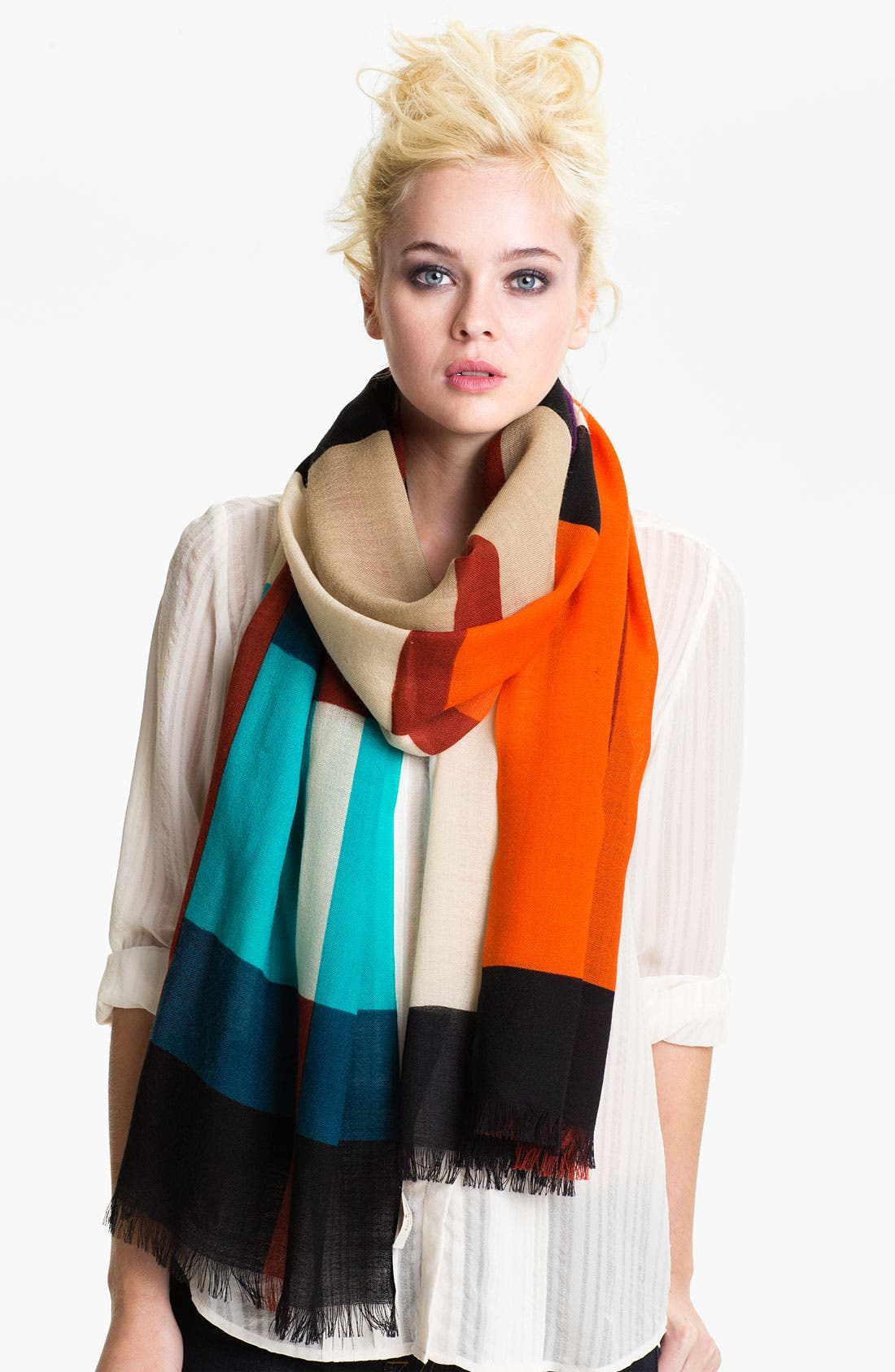 Alternate Image 1 Selected - kate spade new york 'piet' plaid wool scarf