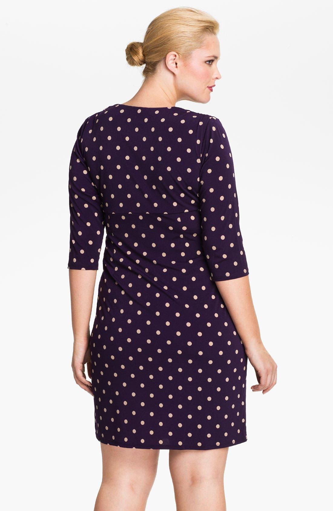 Alternate Image 2  - Eliza J Dot Print Jersey Dress (Plus)