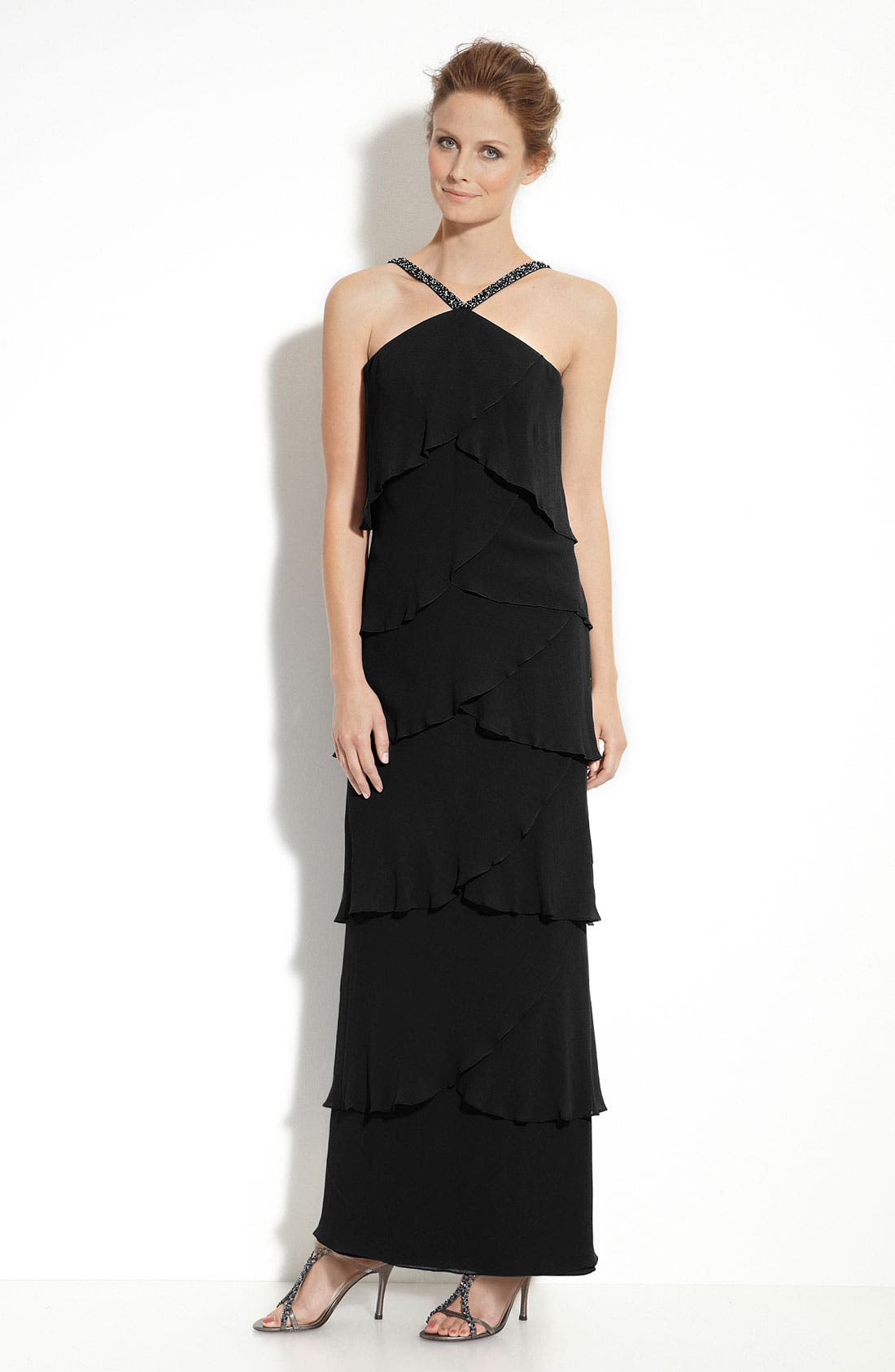Alternate Image 1 Selected - Daymor Tiered Chiffon Gown