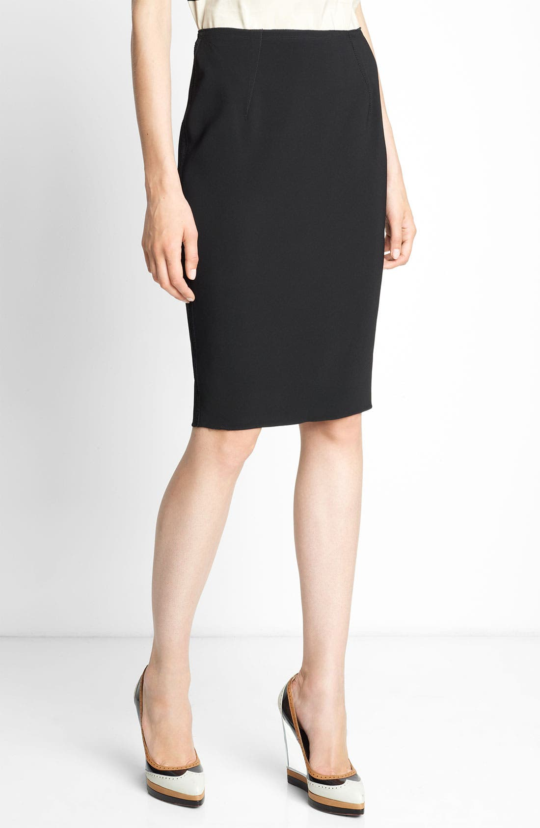 Main Image - Lanvin Grosgrain Inset Crepe Skirt