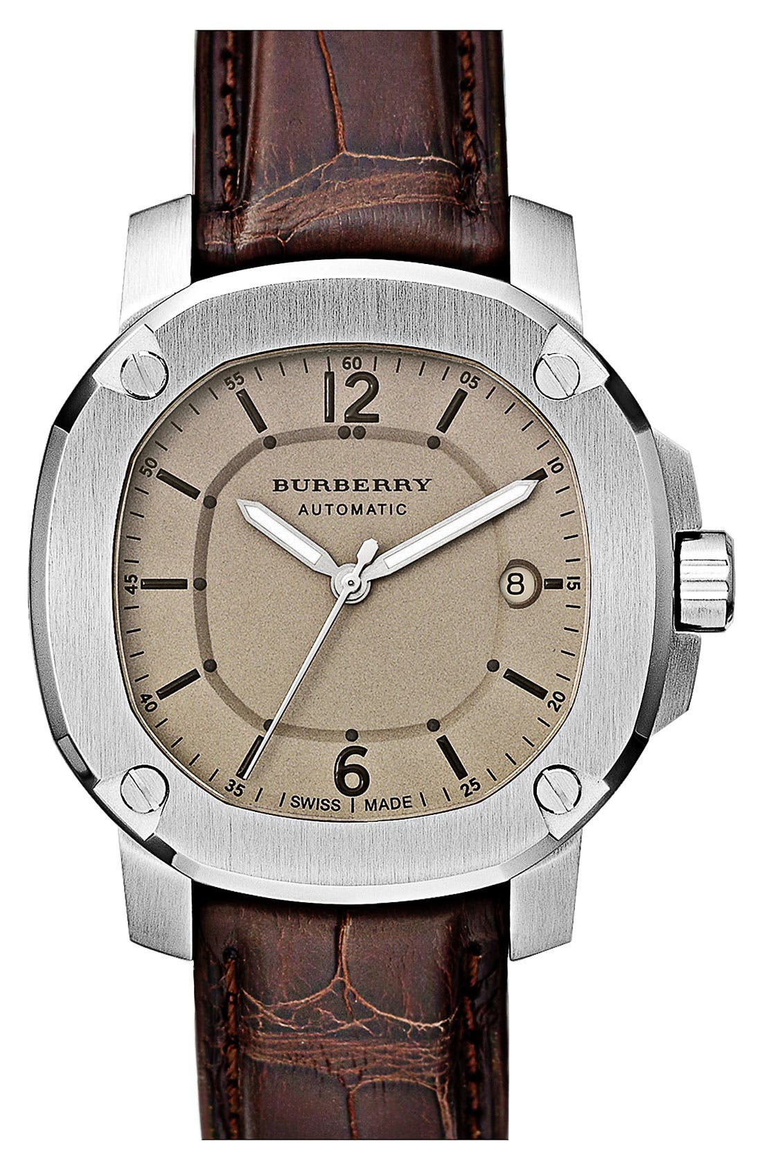 Main Image - Burberry The Britain Automatic Alligator Strap Watch, 43mm