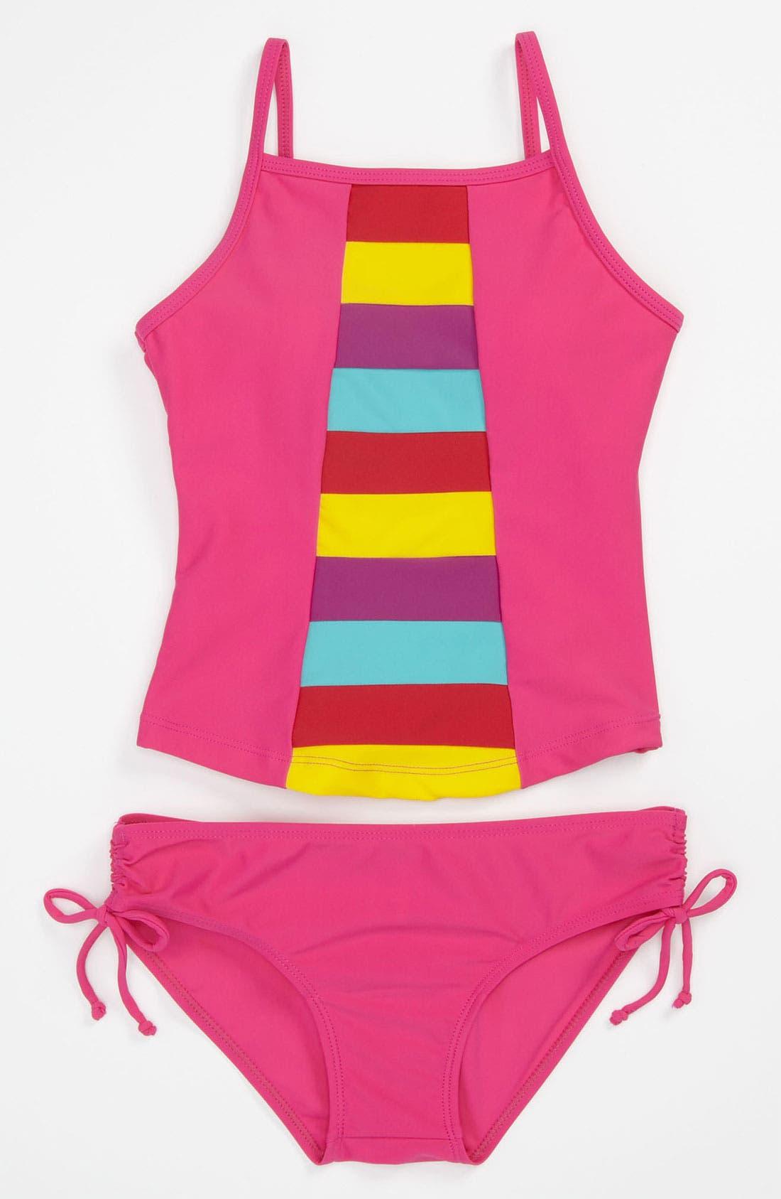 Alternate Image 1 Selected - Limeapple Rainbow Tankini Swimsuit (Big Girls)