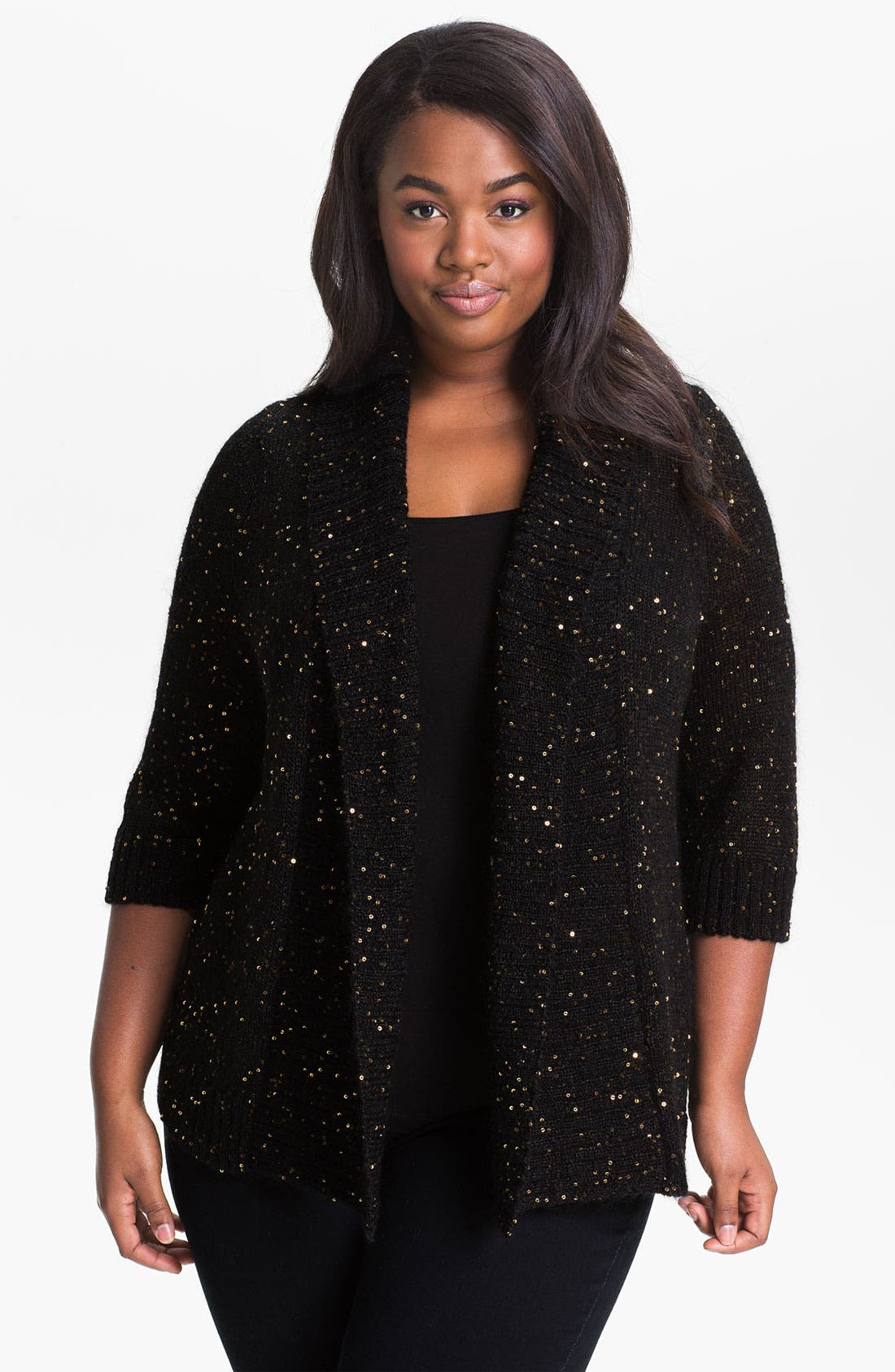 Main Image - Sejour 'Sparkle & Shine' Open Front Cardigan (Plus)