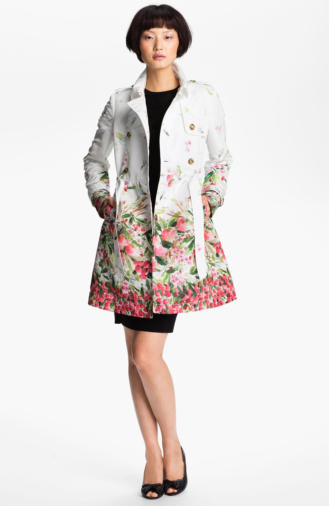 Alternate Image 3  - RED Valentino Belted Print Faille Trench Coat