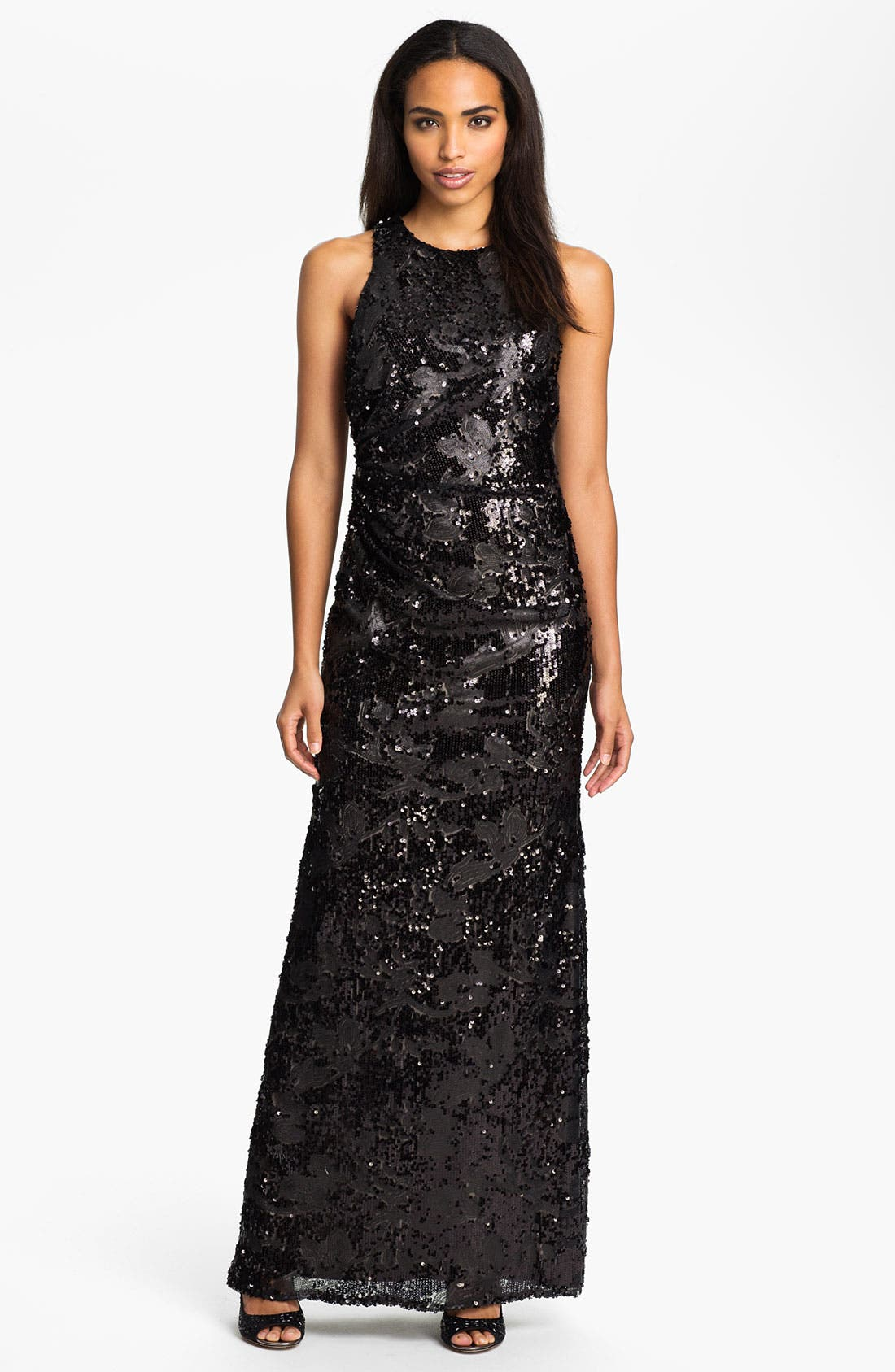Main Image - David Meister Sequin Pattern Racerback Gown