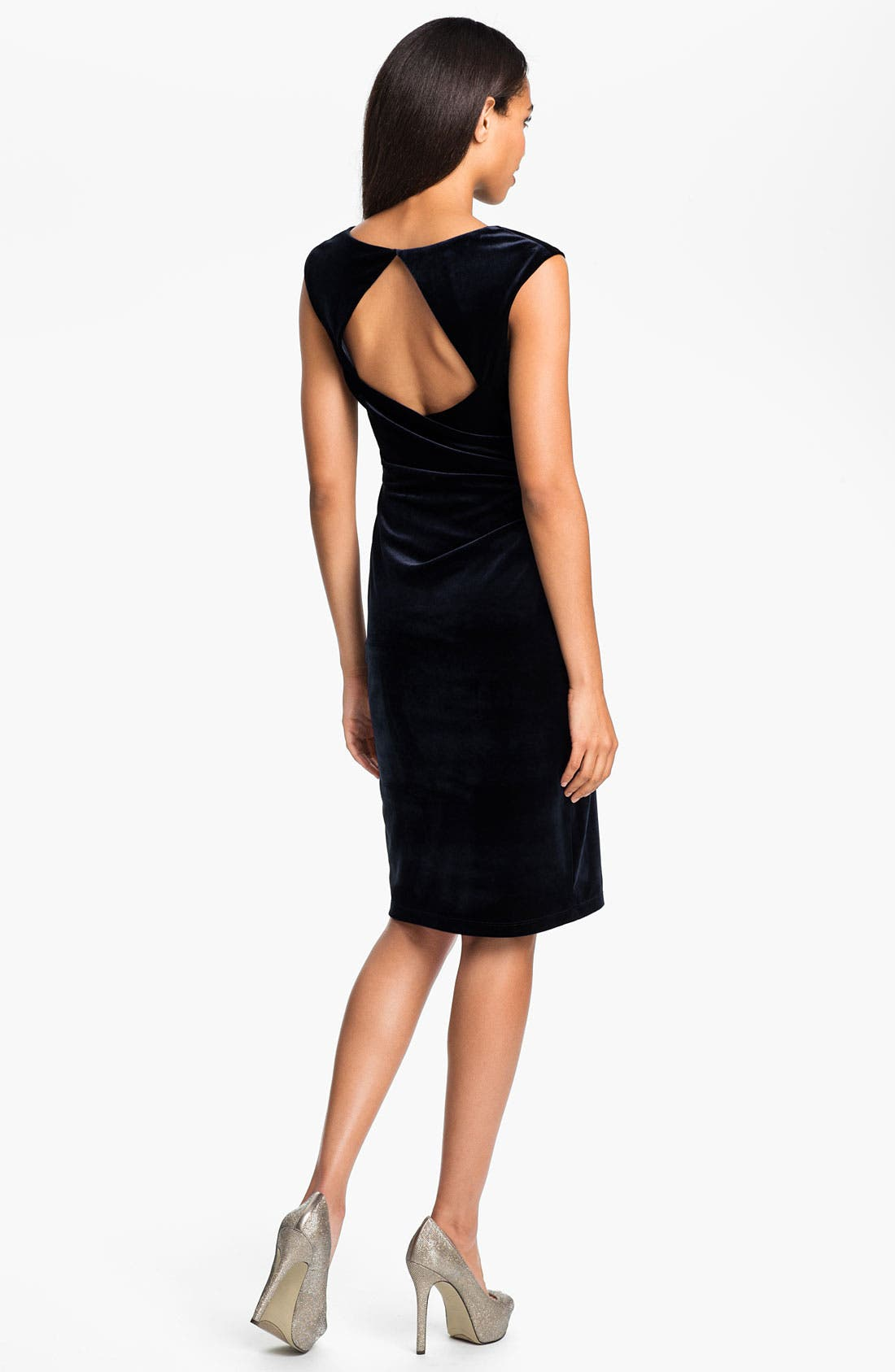 Alternate Image 2  - David Meister Back Cutout Velvet Sheath Dress