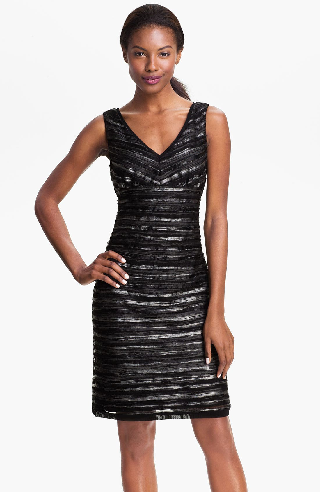 Main Image - Donna Ricco Double V-Neck Textured Mesh Sheath Dress