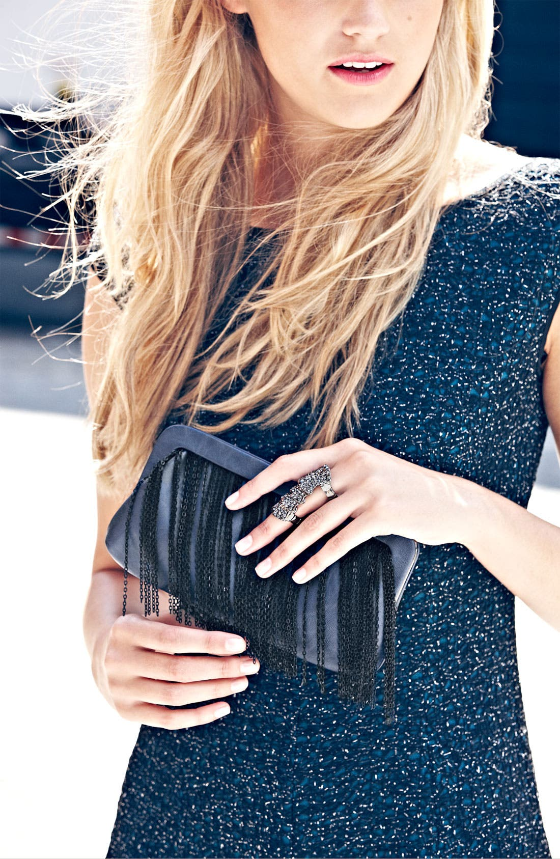 Alternate Image 5  - Big Buddha Fringe Clutch
