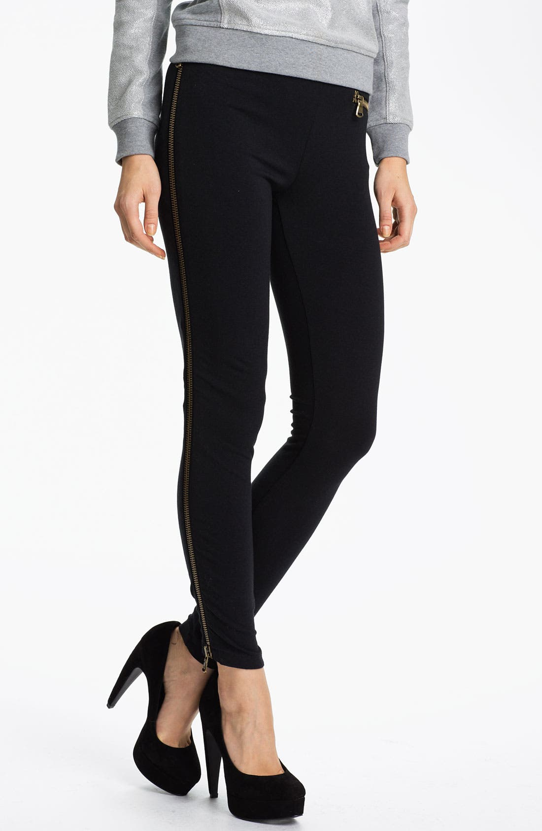 Alternate Image 1 Selected - Hot Sox Side Zipper Leggings