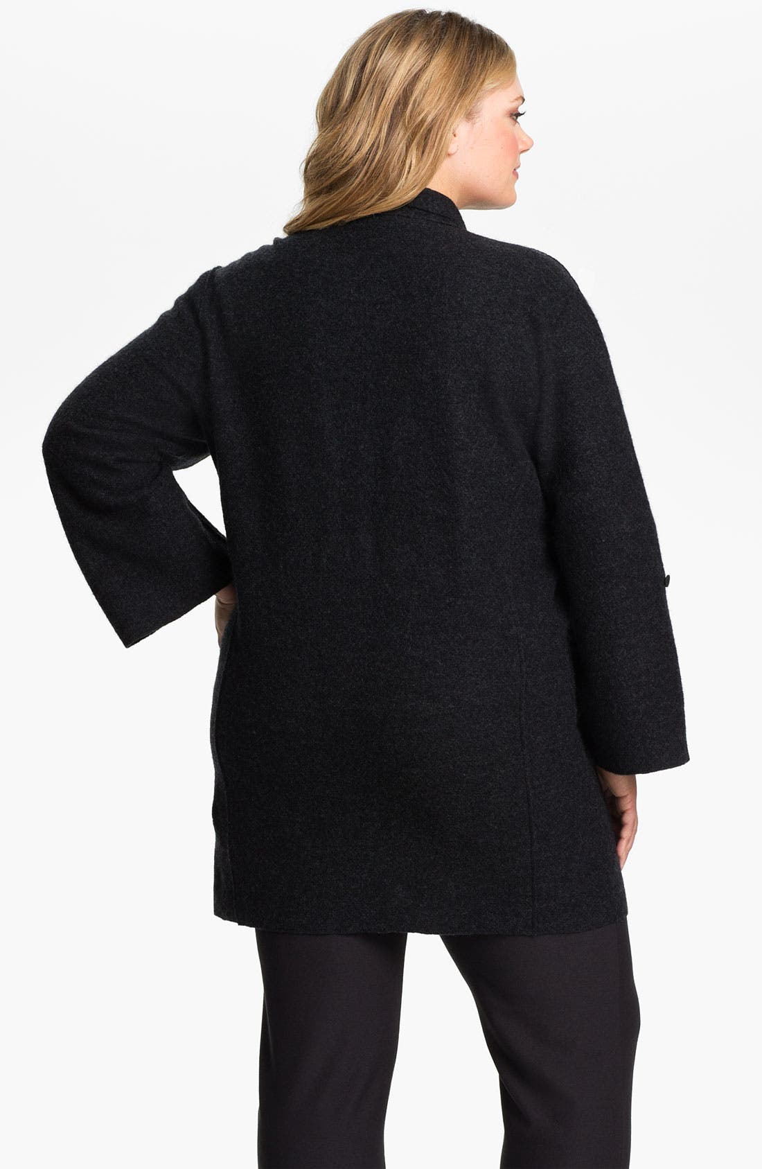 Alternate Image 2  - Eileen Fisher Merino Wool Roll Sleeve Jacket (Plus)