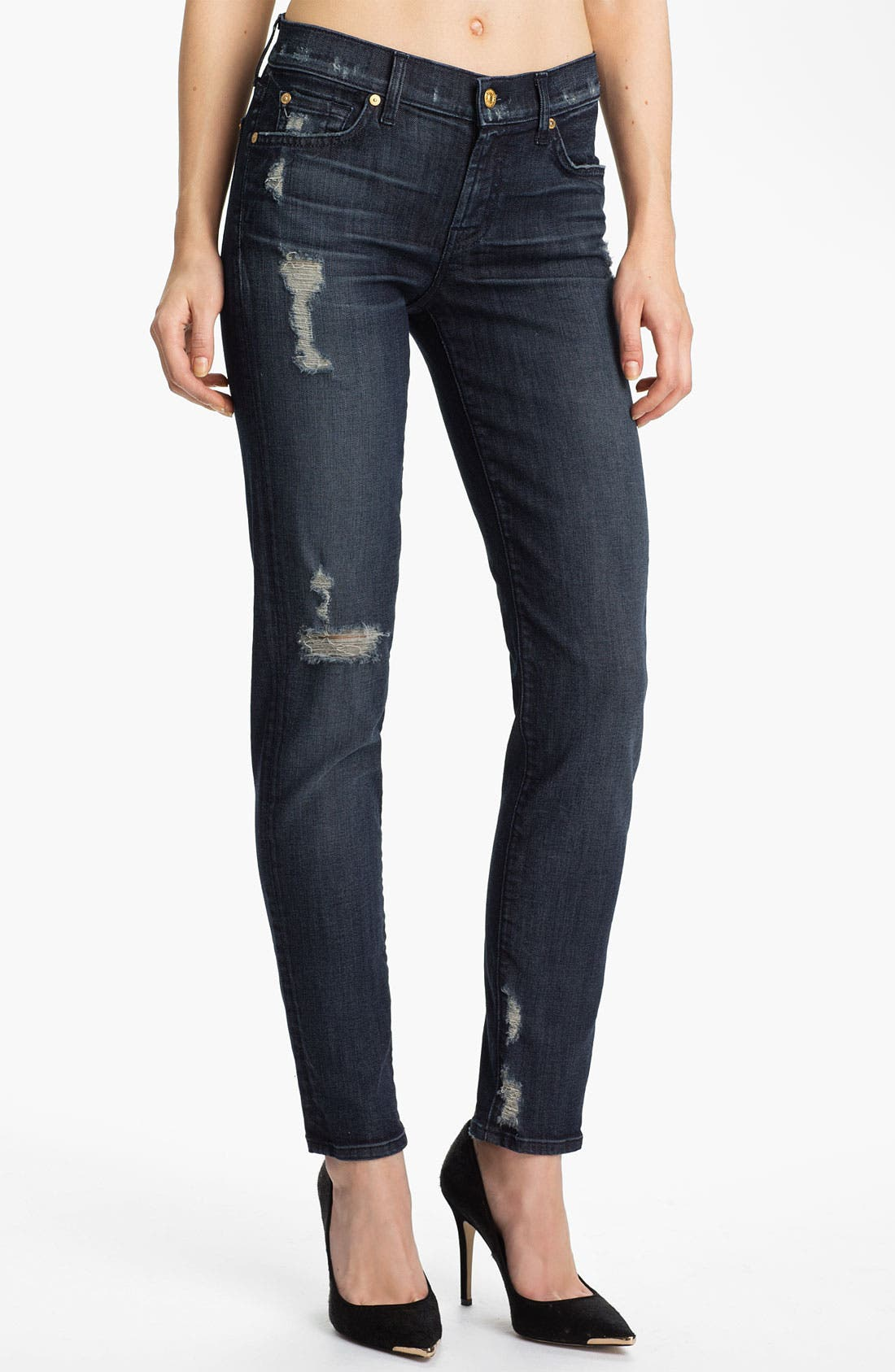Main Image - 7 For All Mankind® 'The Slim Cigarette' Stretch Jeans (Grey Tint)