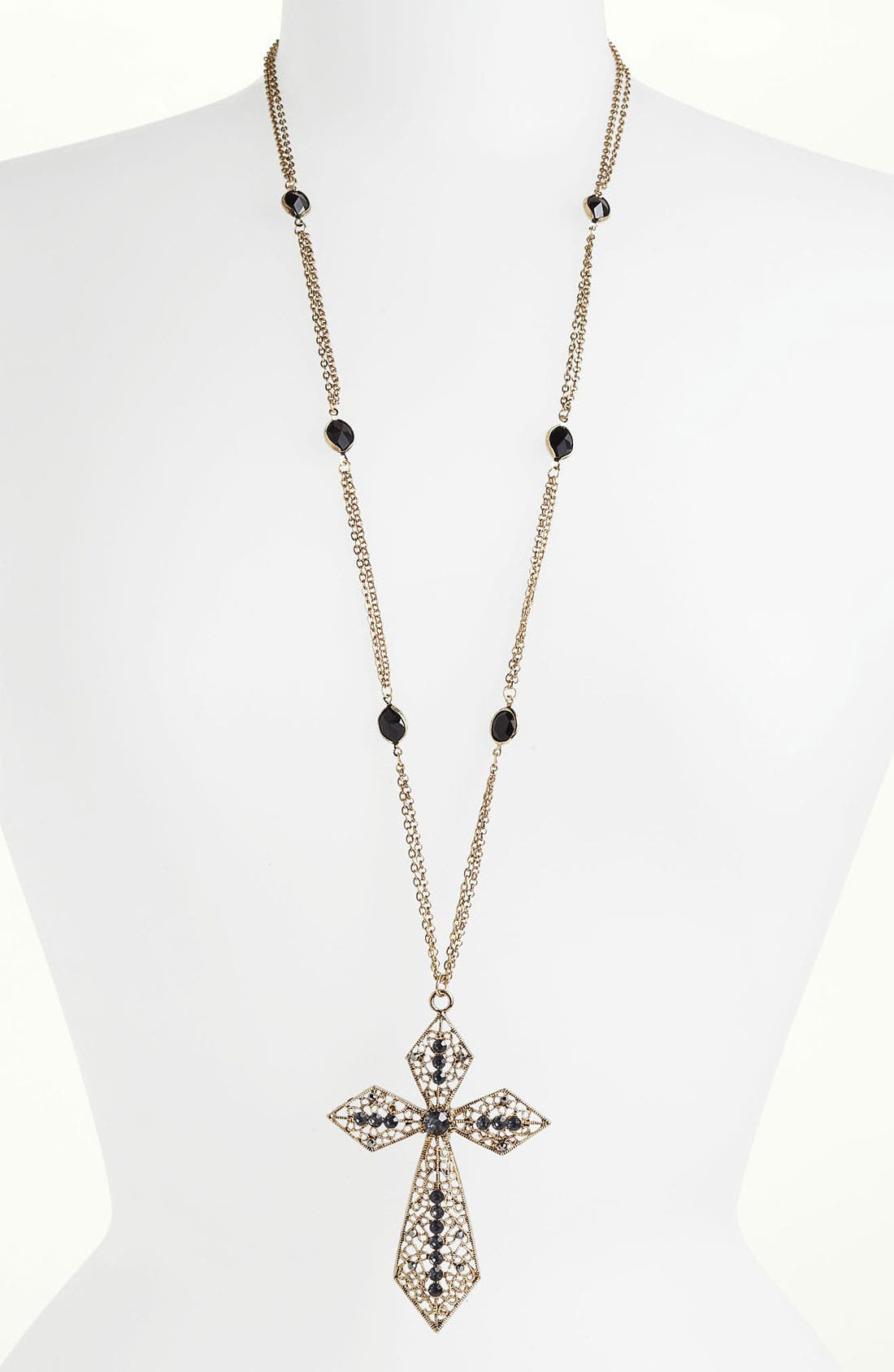 Main Image - Jewelry Fashions Crystal Cross Pendant Necklace