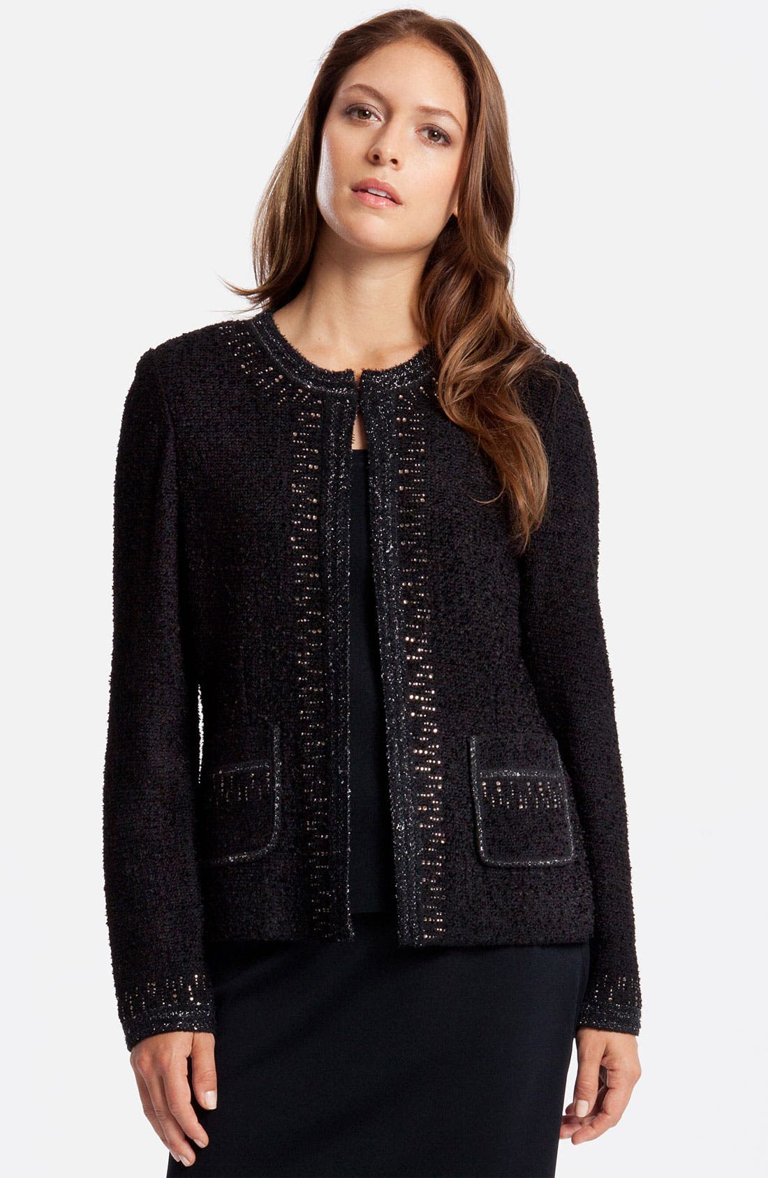 Alternate Image 1 Selected - Ming Wang Embellished Bouclé Jacket