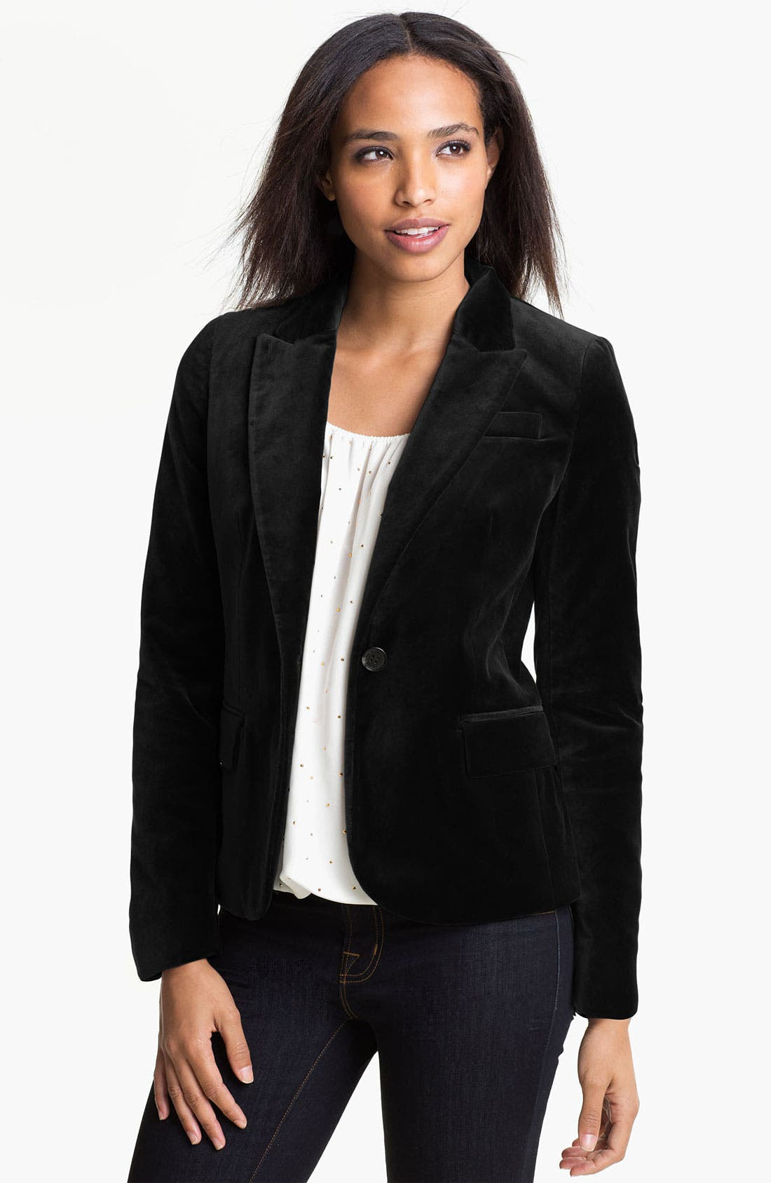 Main Image - Vince Camuto One Button Velvet Blazer