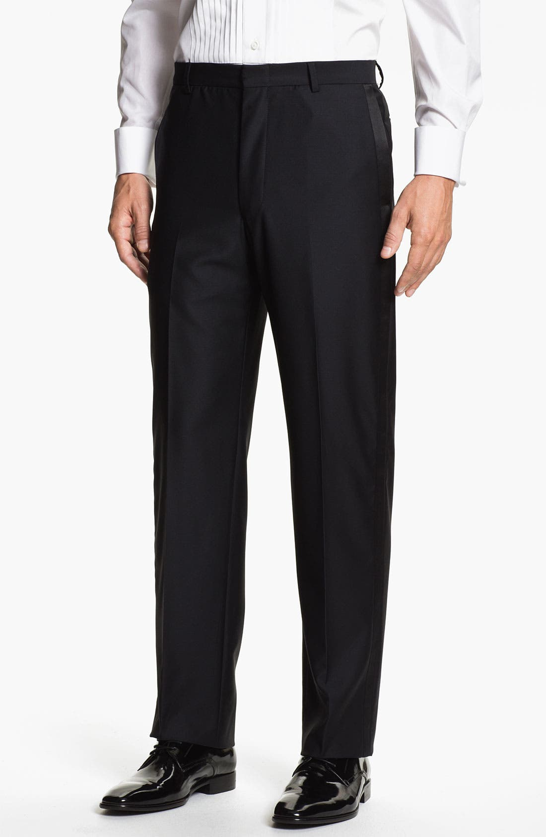 Main Image - John W. Nordstrom® Signature Flat Front Tuxedo Trousers