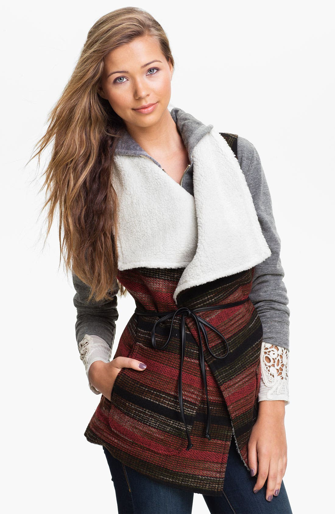 Main Image - Jolt Southwestern Blanket Vest (Juniors)