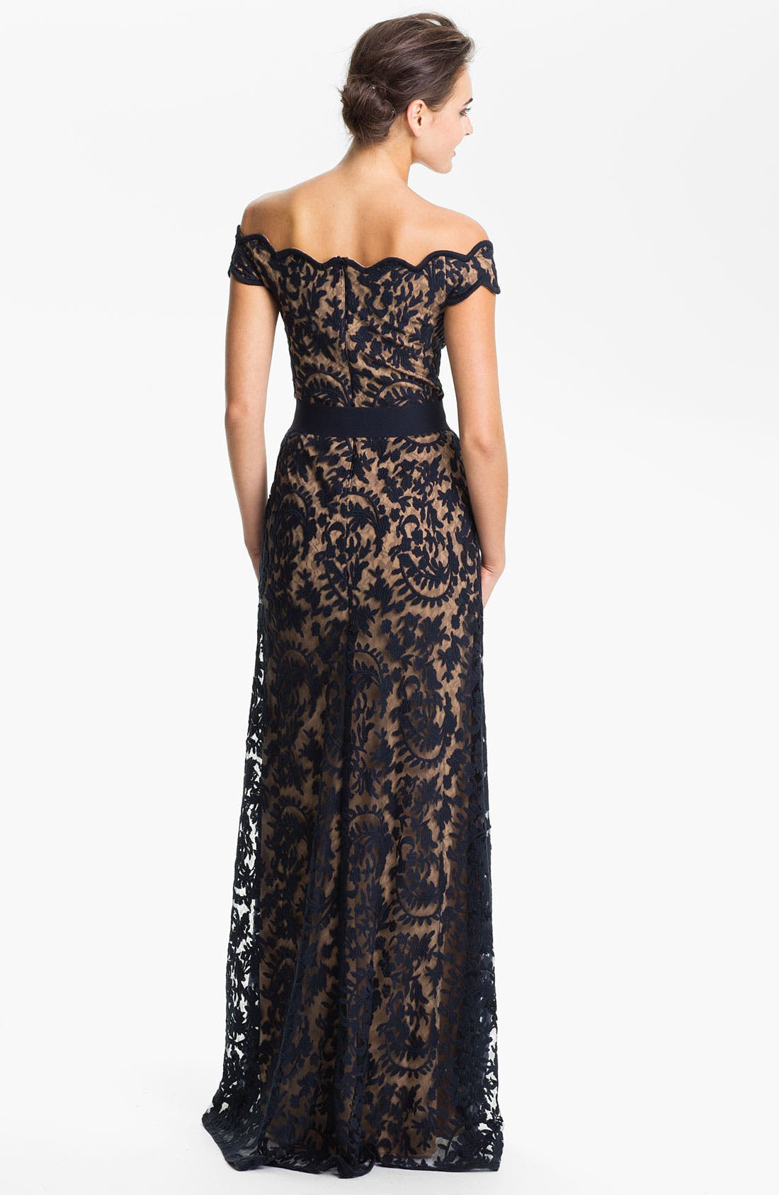 Alternate Image 2  - Tadashi Shoji Lace Overlay Off Shoulder Gown