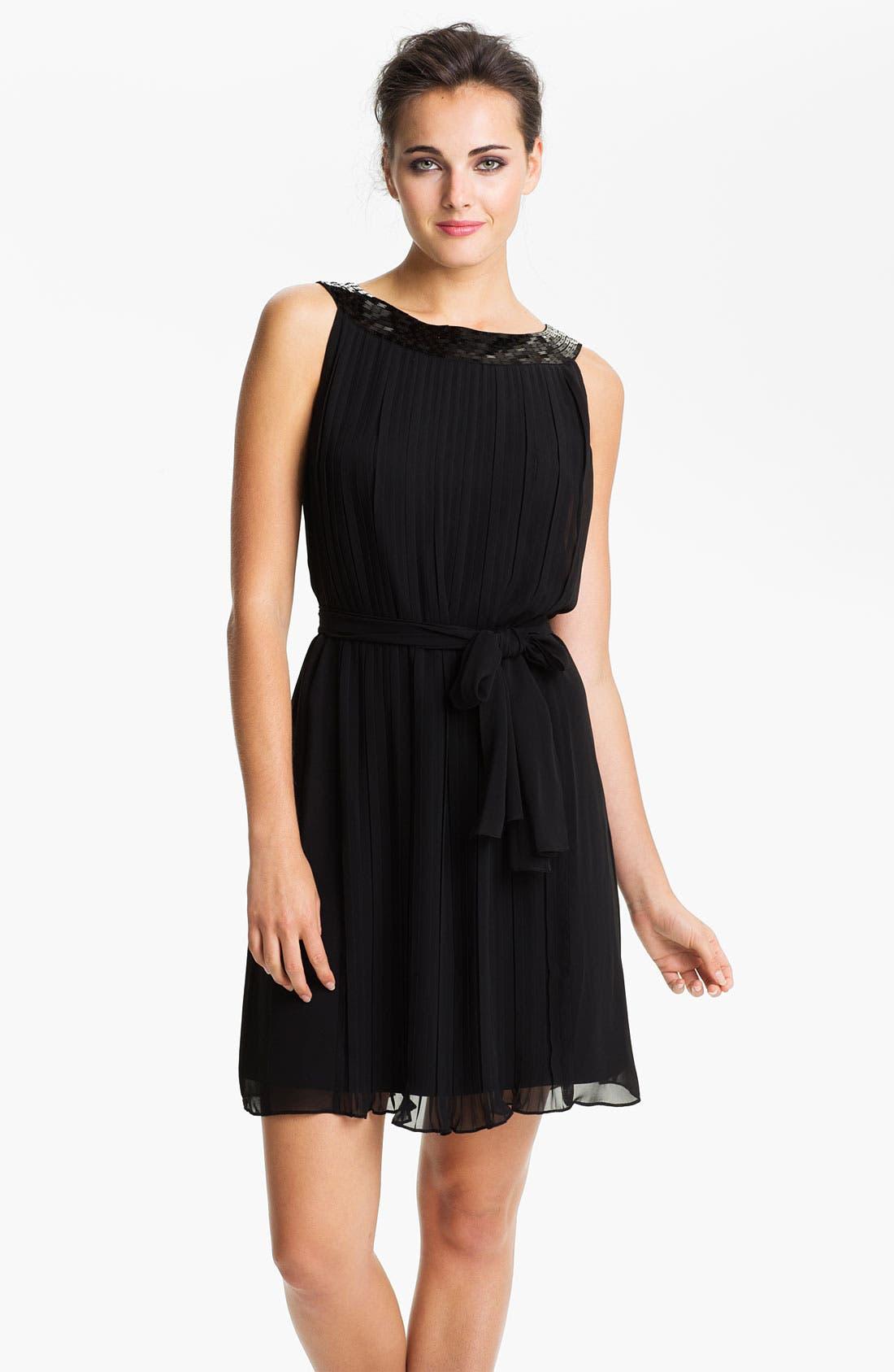 Main Image - Calvin Klein Sequin Neck Pleated Chiffon Dress