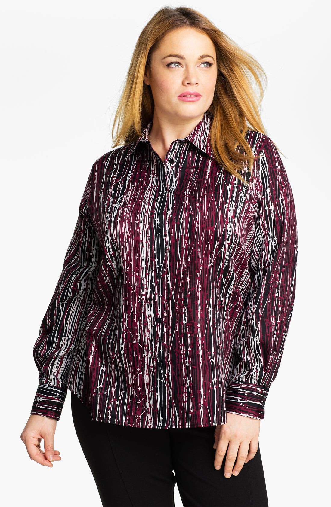 Main Image - Foxcroft 'Abstract Twigs' Wrinkle Free Shaped Shirt (Plus)