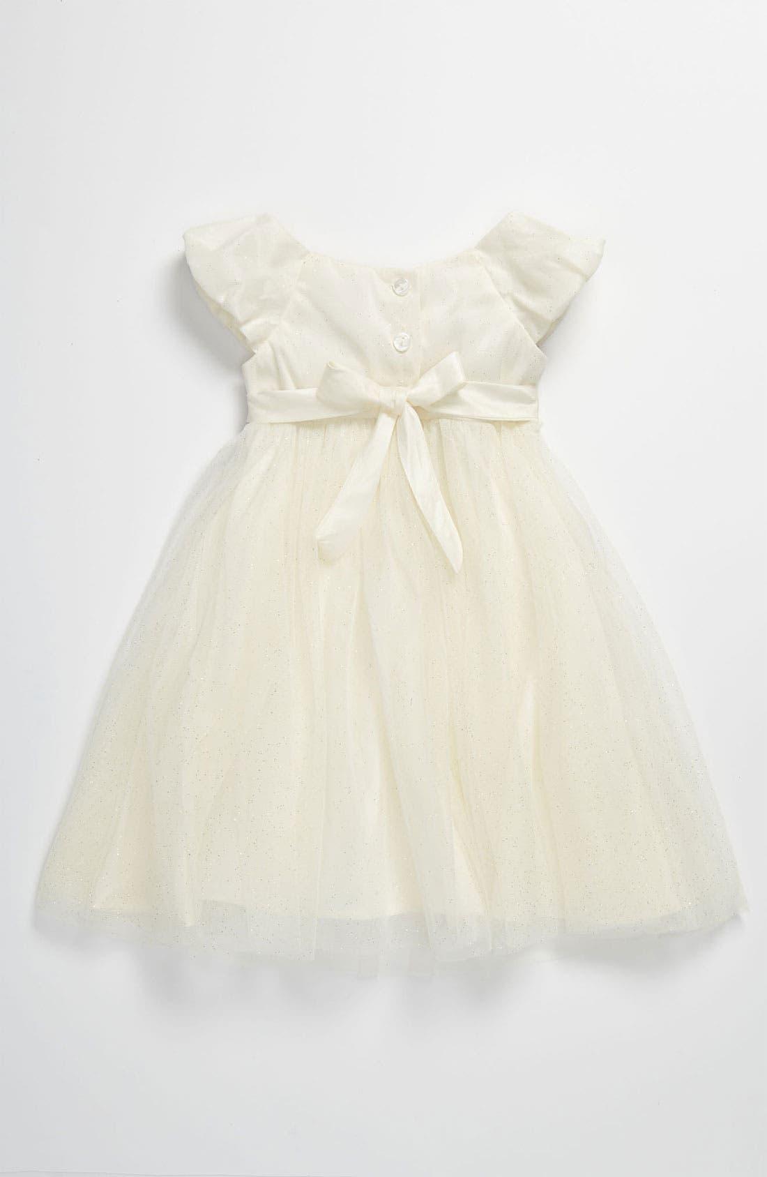 Alternate Image 2  - Sweet Heart Rose Lace Empire Waist Glitter Dress (Toddler)