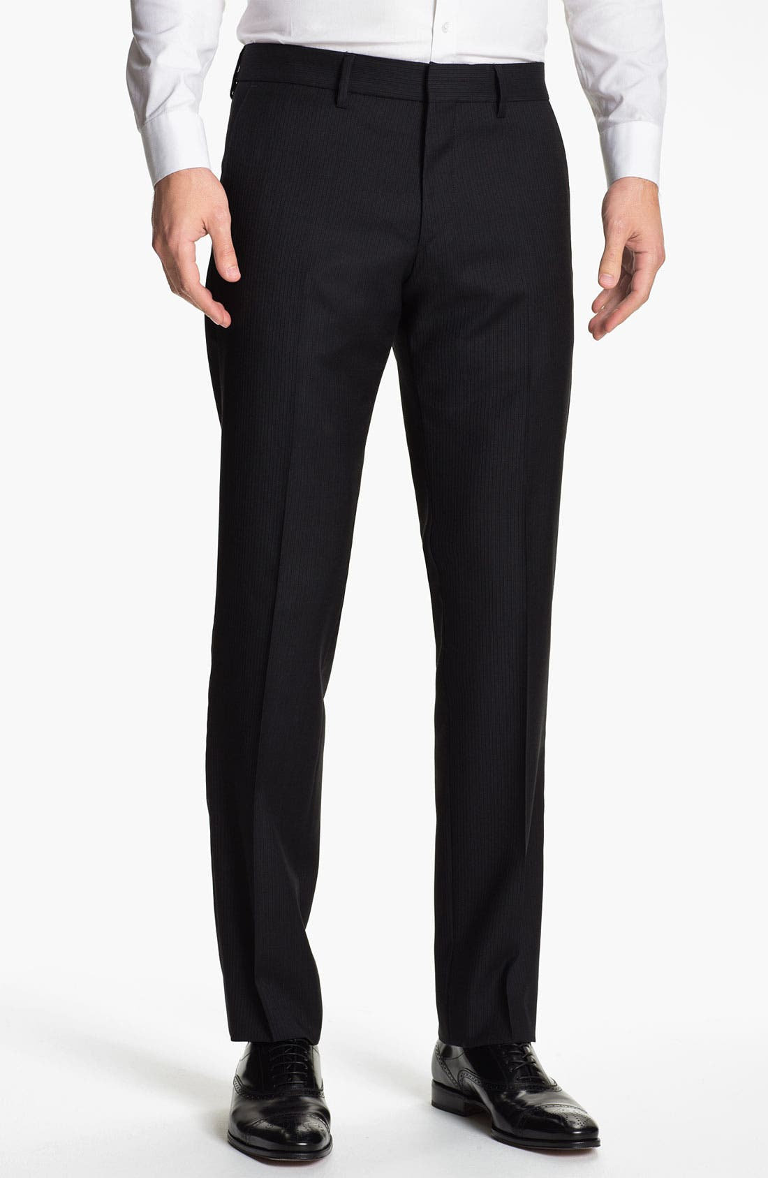 Main Image - BOSS Black 'Crigan' Pinstriped Flat Front Wool Trousers