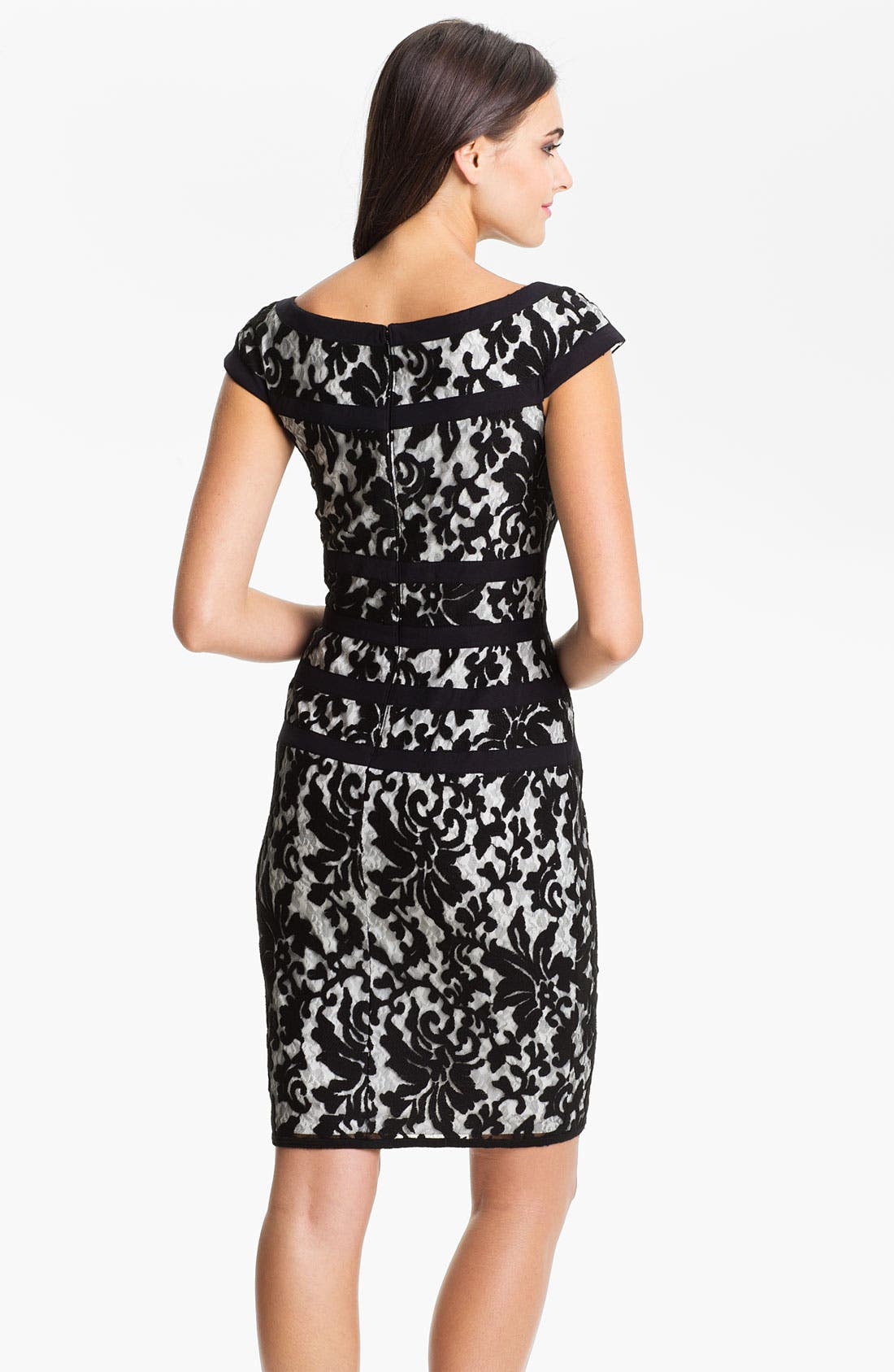 Alternate Image 2  - Tadashi Shoji Cap Sleeve Lace Sheath Dress