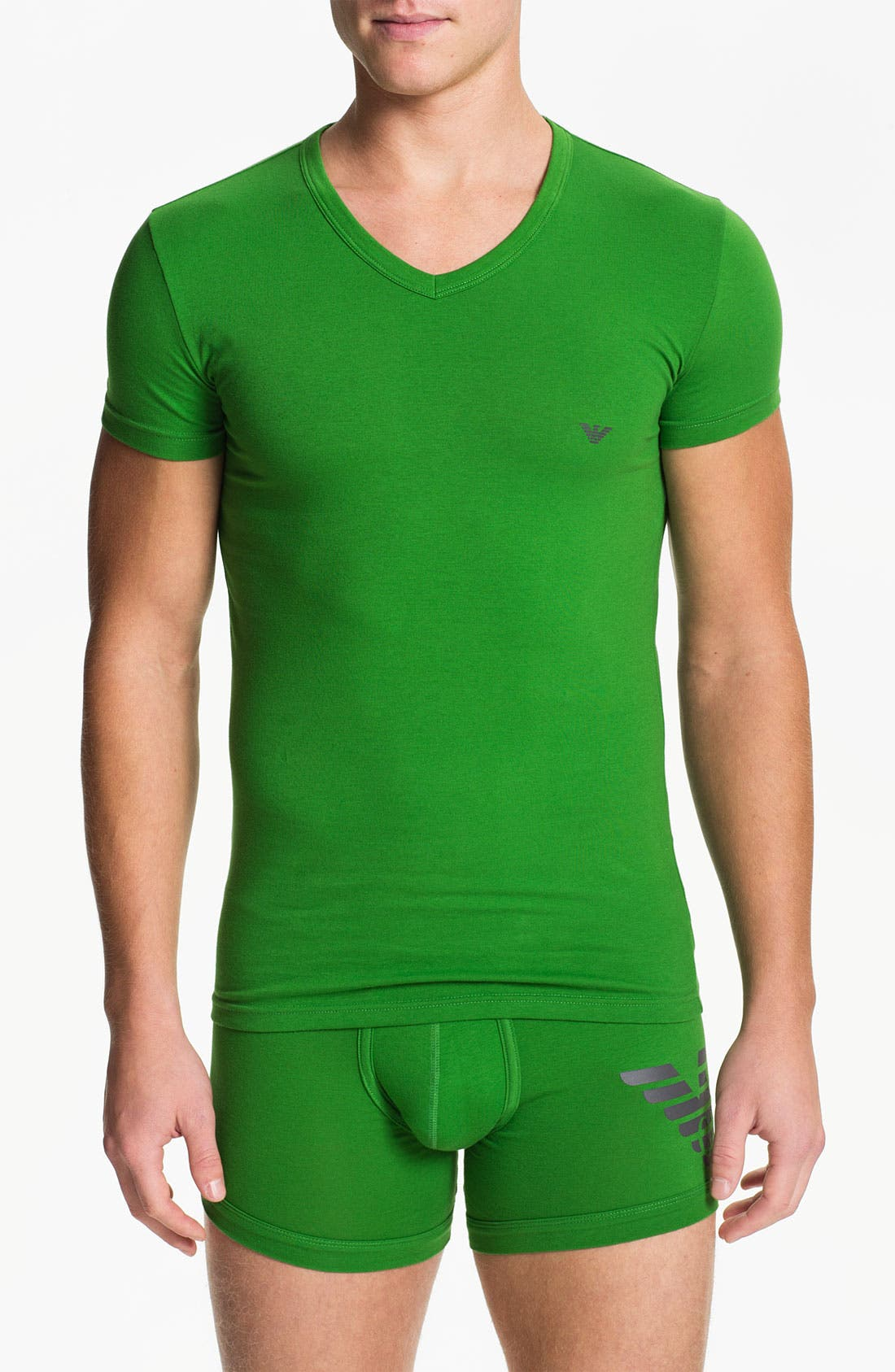 Alternate Image 1 Selected - Emporio Armani 'Eagle' Stretch Cotton V-Neck T-Shirt