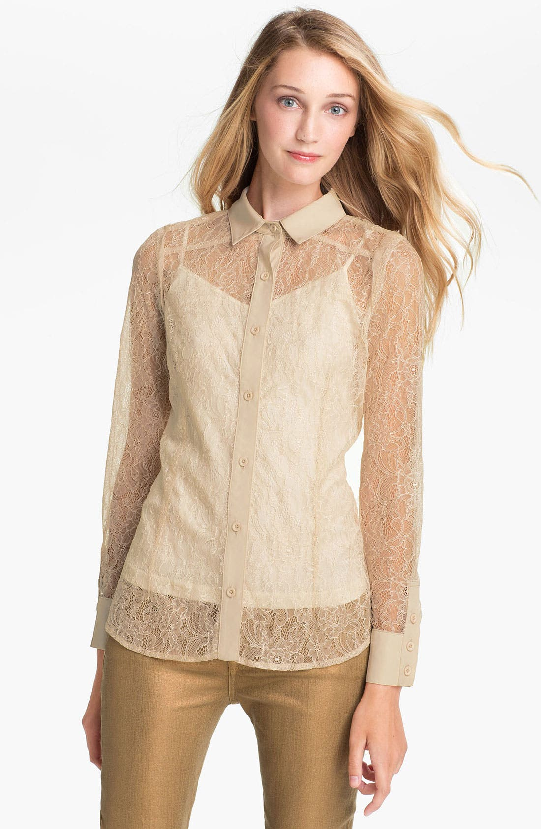 Alternate Image 1 Selected - Max & Mia Sheer Lace Blouse
