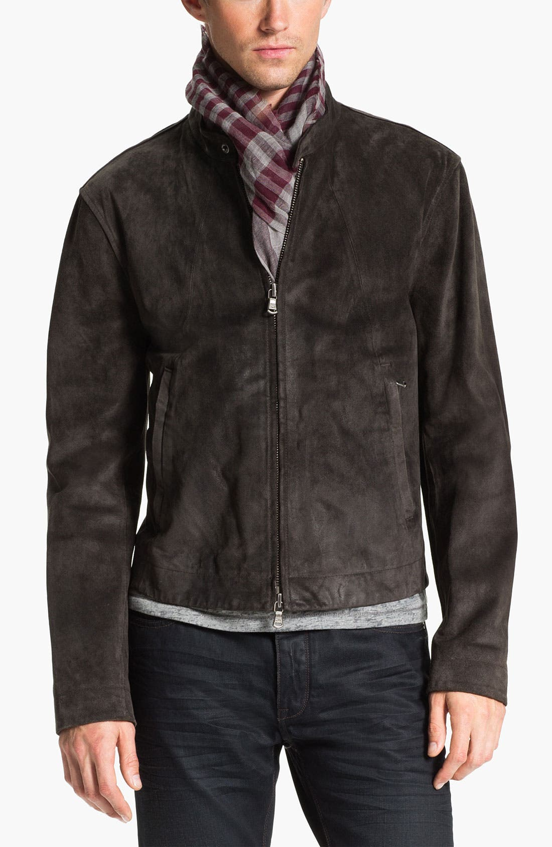 Main Image - John Varvatos Star USA Suede Moto Jacket