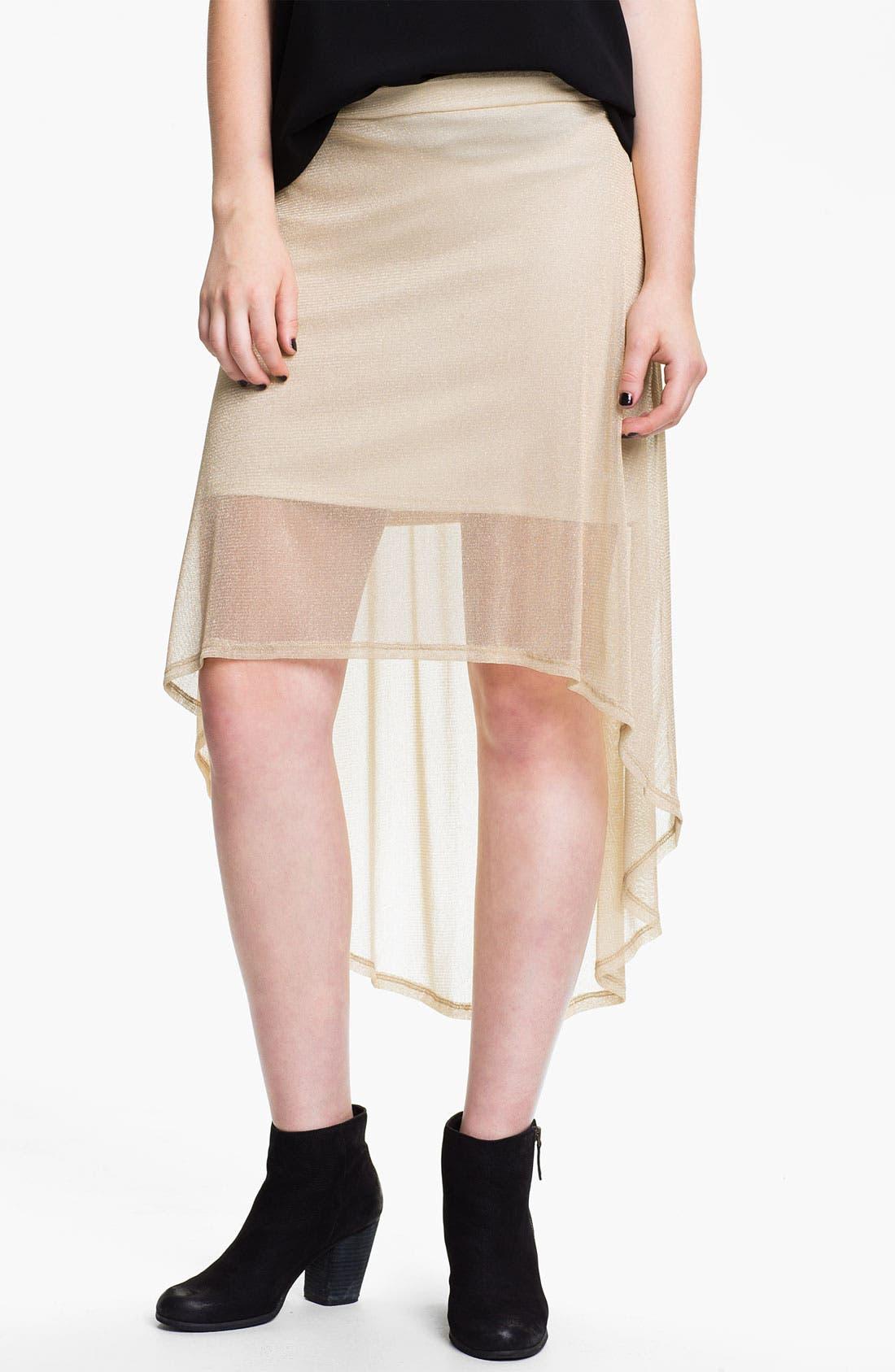 Main Image - h.i.p. Metallic Half-Sheer High/Low Skirt (Juniors)
