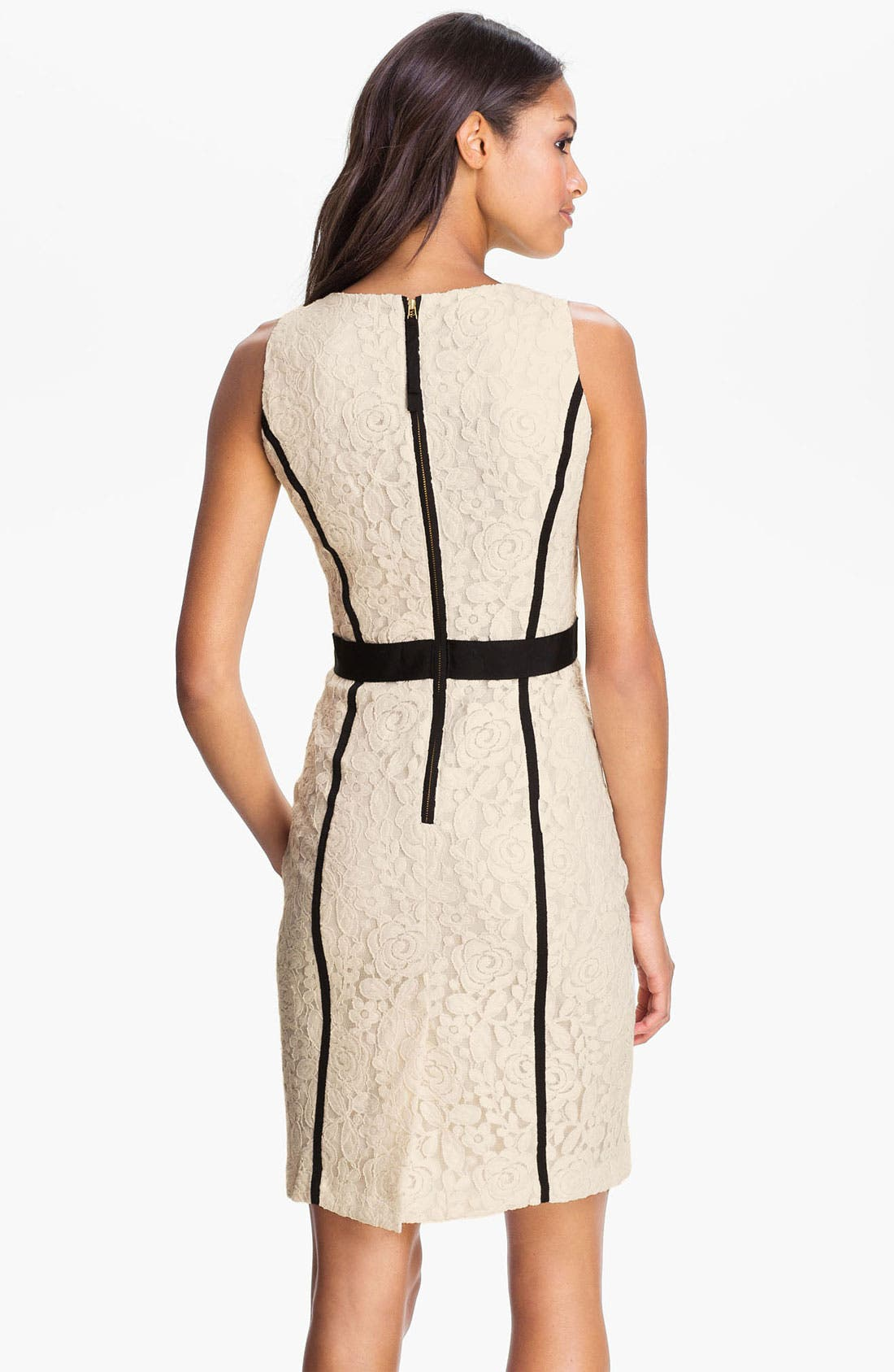 Alternate Image 2  - Taylor Dresses Ribbon Trim Lace Sheath Dress