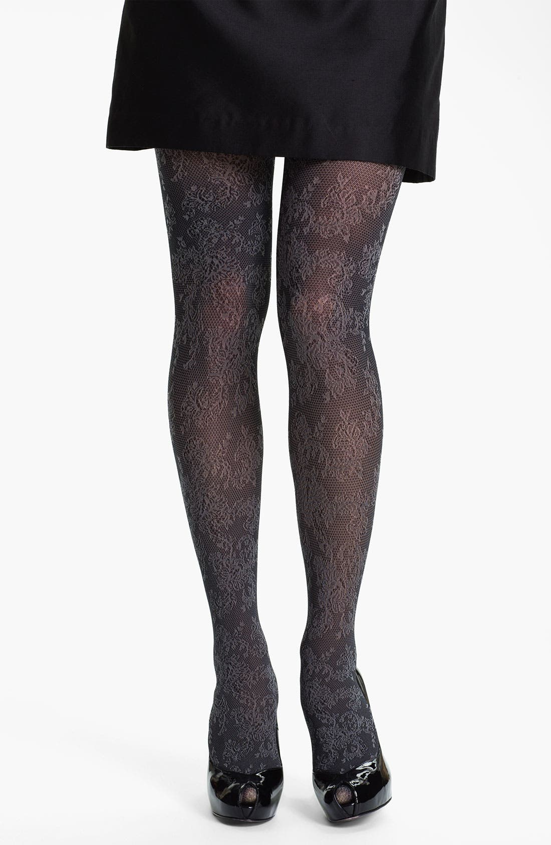 Main Image - Hue 'Victorian' Floral Control Top Tights