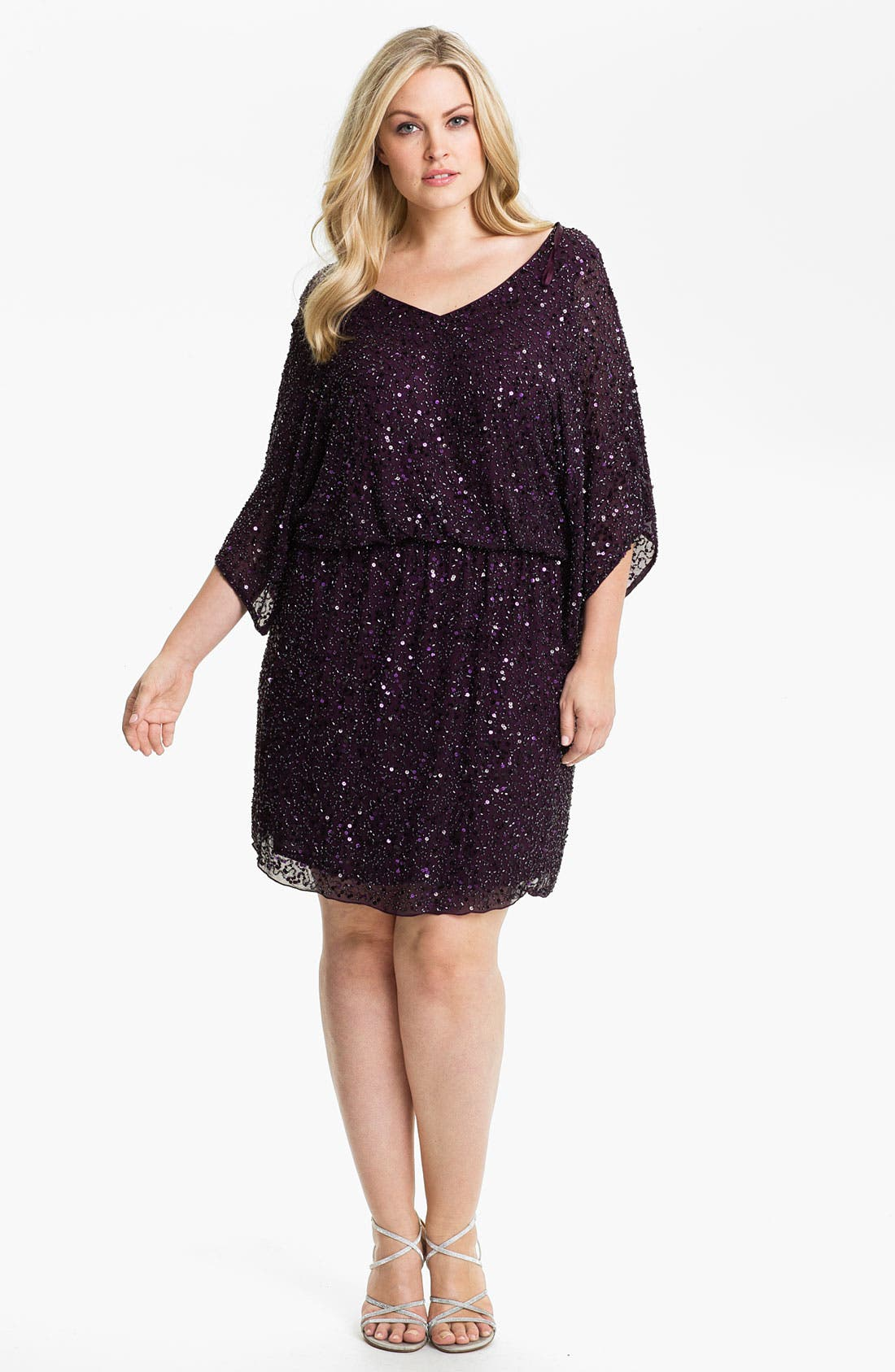 Main Image - Pisarro Nights Beaded Kimono Sleeve Dress (Plus)