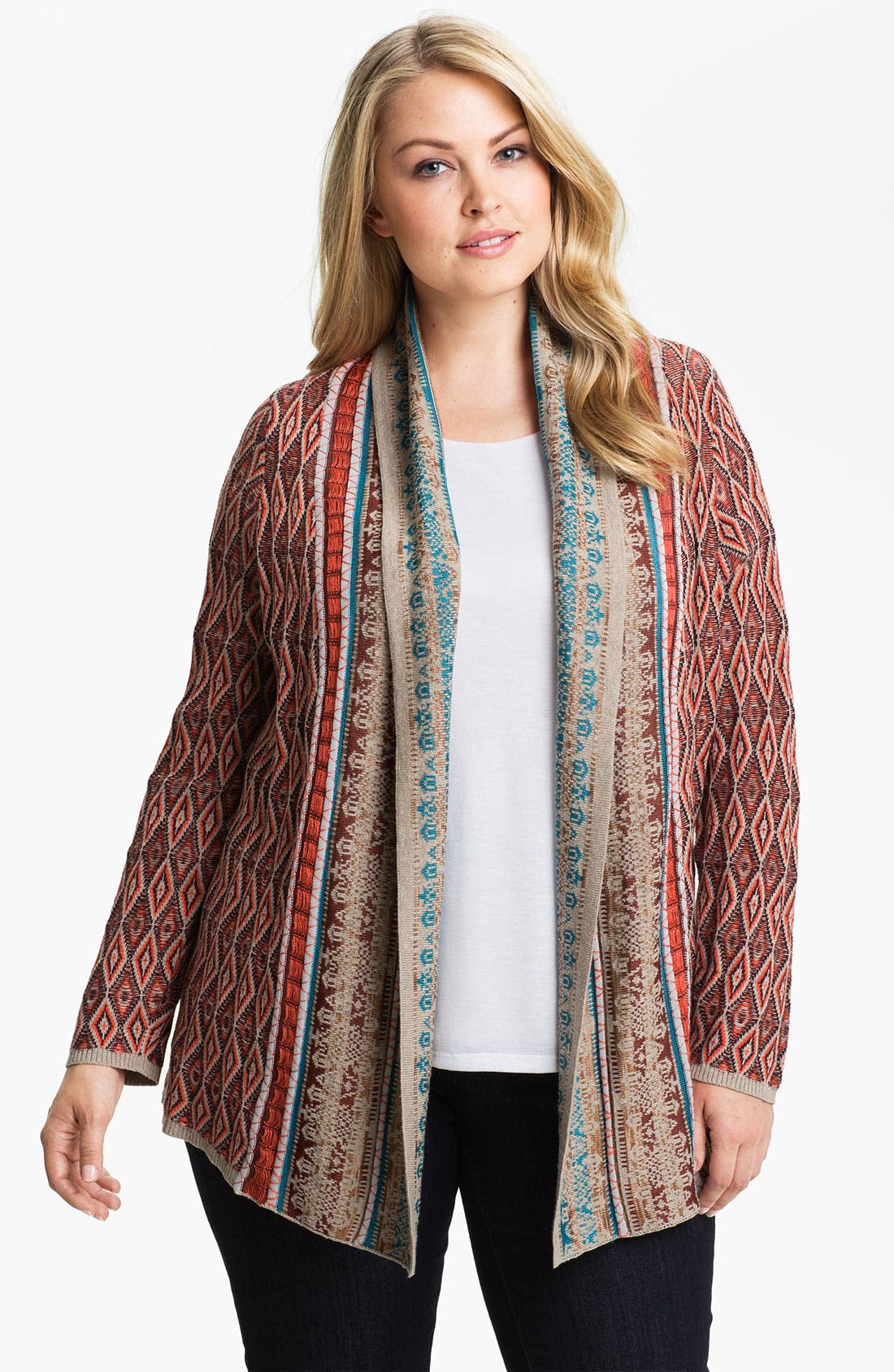 Alternate Image 1 Selected - Nic + Zoe Geo Print Cardigan (Plus)
