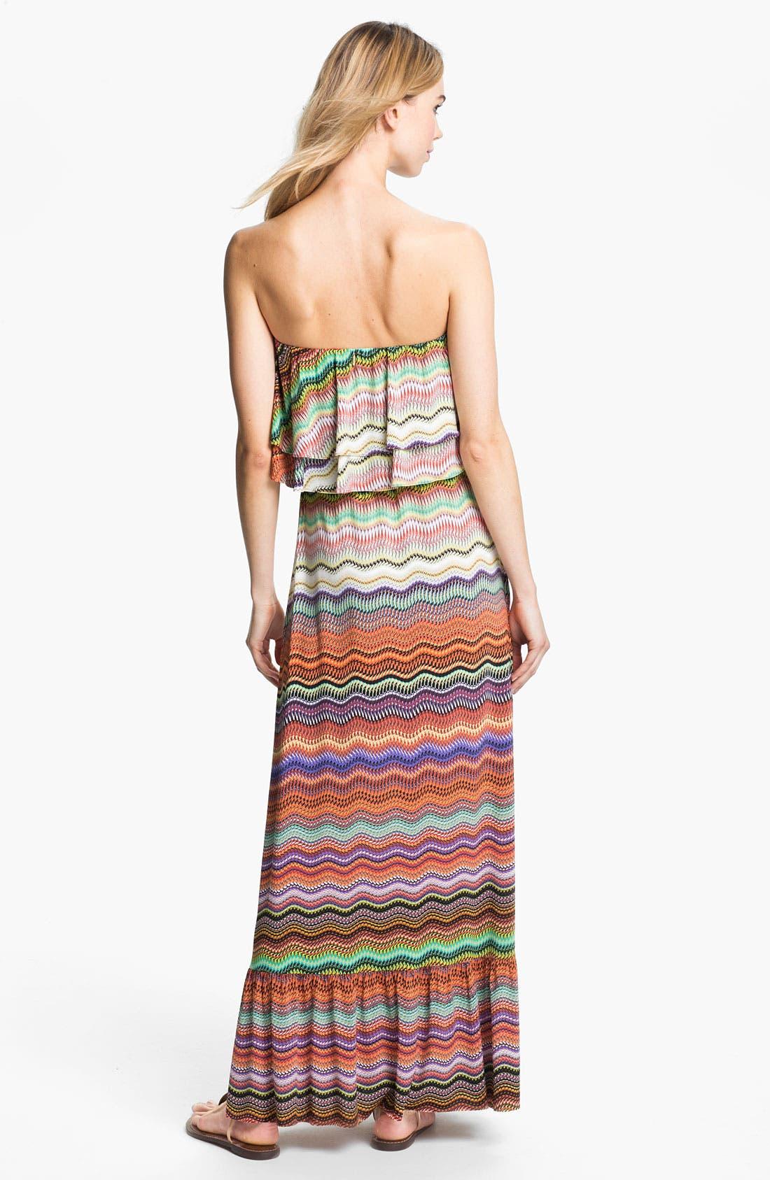 Alternate Image 2  - Tbags Los Angeles Ruffle Bodice Print Maxi Dress