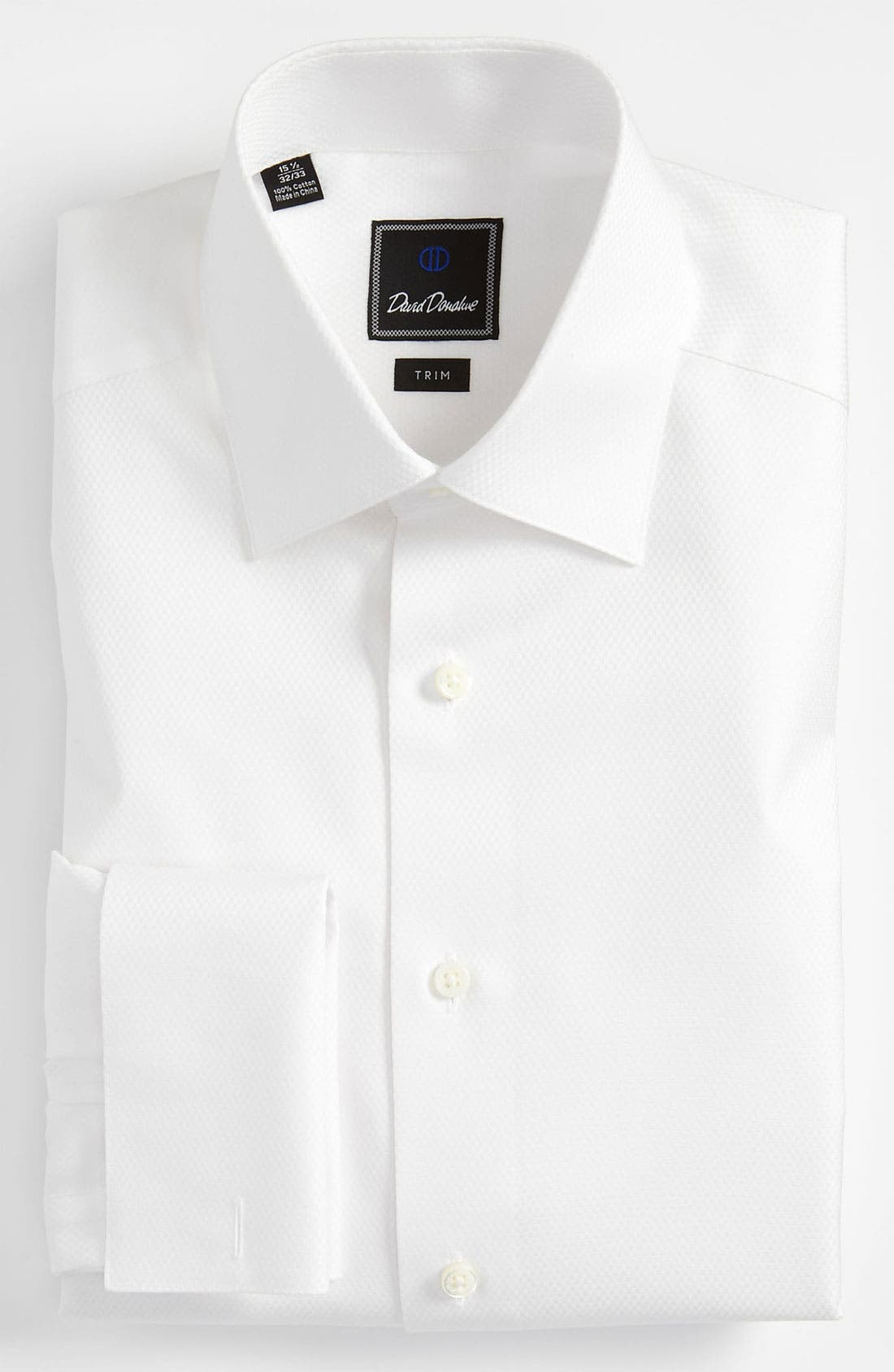 David Donahue Trim Fit Solid French Cuff Tuxedo Shirt
