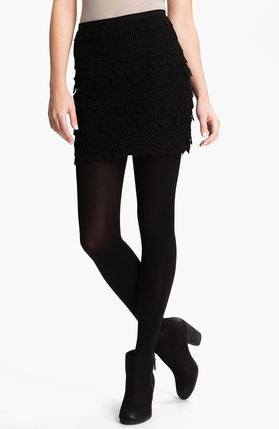 Alternate Image 1 Selected - Lush Banded Crochet Skirt (Juniors)
