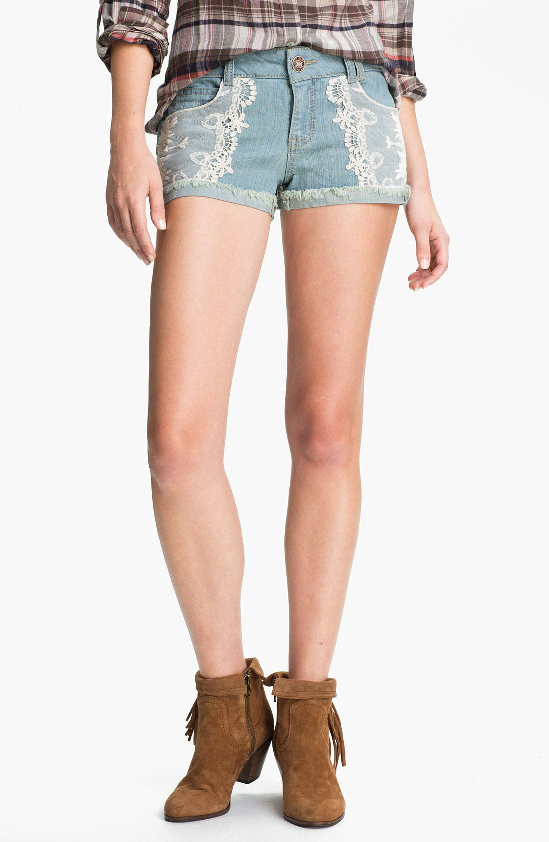 Main Image - Jolt Lace Appliqué Denim Shorts (Juniors)