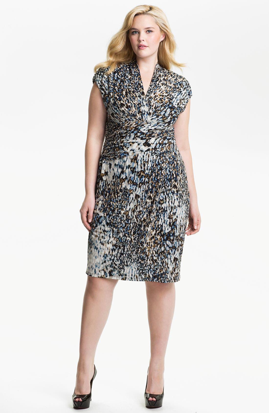 Main Image - Suzi Chin for Maggy Boutique Print Surplice Sheath Dress (Plus)