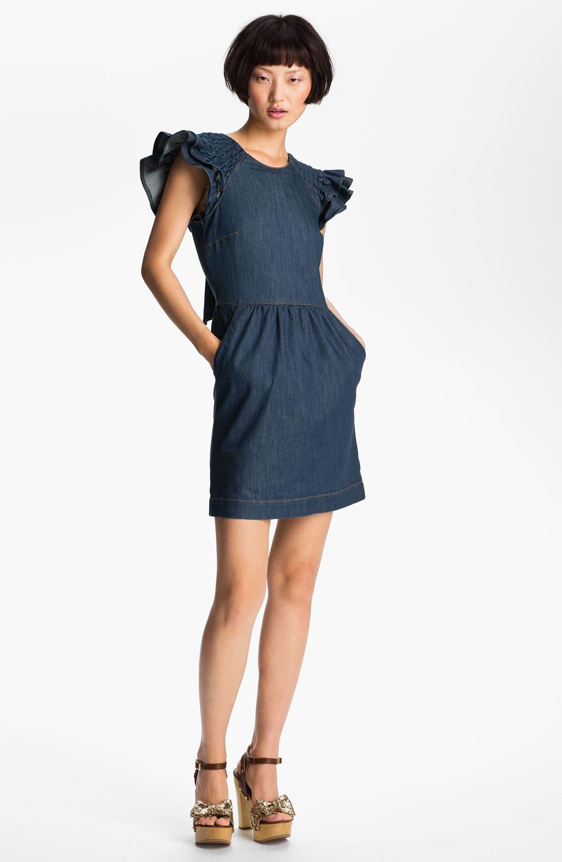 Alternate Image 1 Selected - RED Valentino Ruffle Sleeve Denim Dress
